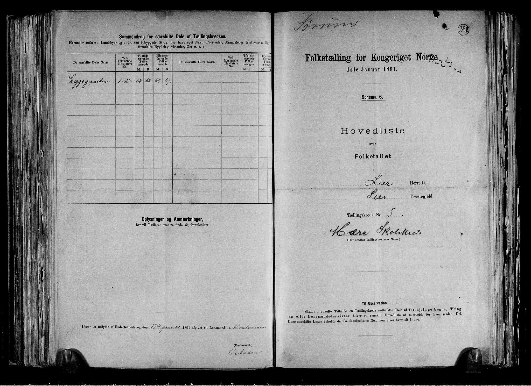 RA, Folketelling 1891 for 0626 Lier herred, 1891, s. 16