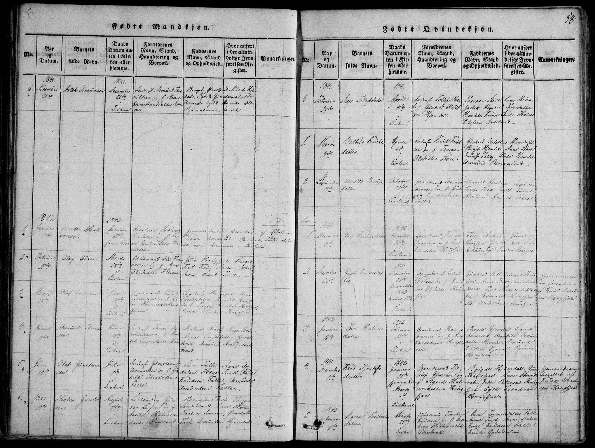 SAKO, Nissedal kirkebøker, F/Fb/L0001: Ministerialbok nr. II 1, 1814-1845, s. 58