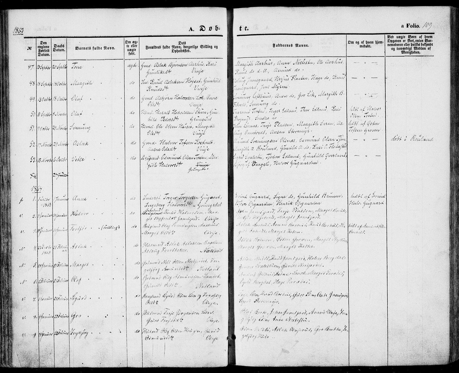 SAKO, Vinje kirkebøker, F/Fa/L0004: Ministerialbok nr. I 4, 1843-1869, s. 109