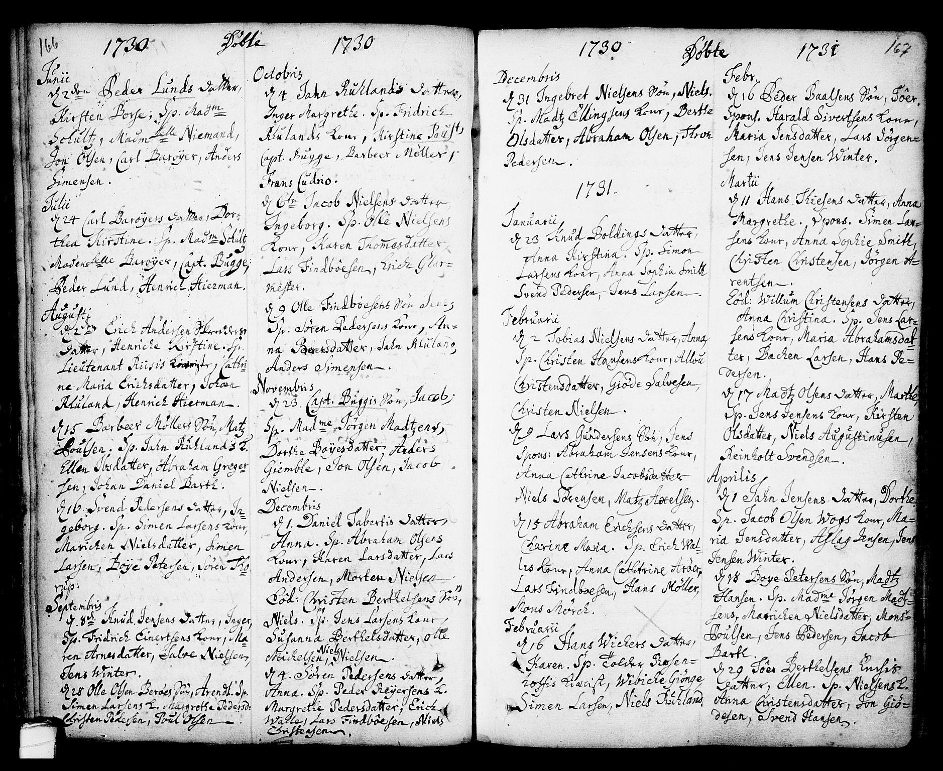 SAKO, Kragerø kirkebøker, F/Fa/L0001: Ministerialbok nr. 1, 1702-1766, s. 166-167