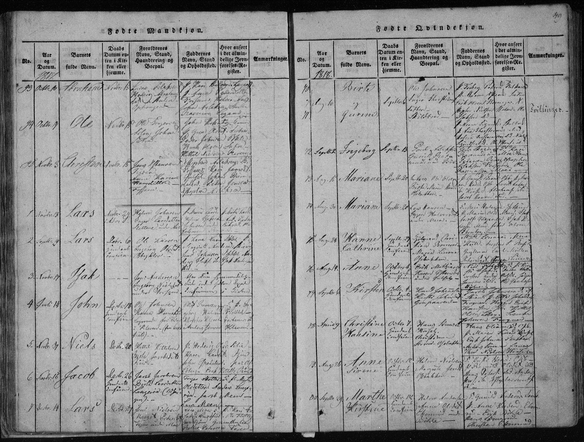 SAKO, Gjerpen kirkebøker, F/Fa/L0004: Ministerialbok nr. 4, 1814-1823, s. 49