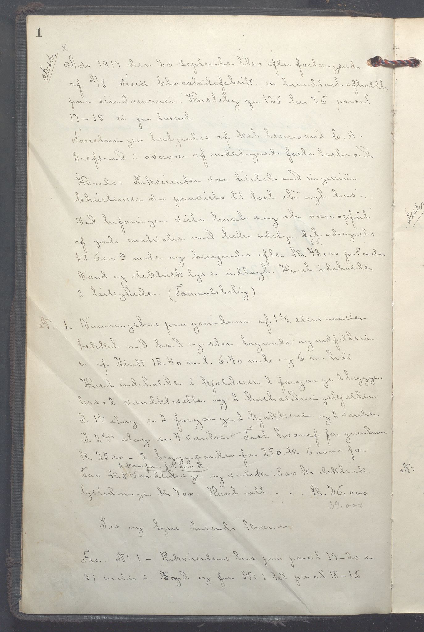 OBA, Lensmennene i Aker, F/Fc/L0018: Branntakstprotokoll, 1917-1920, s. 1a