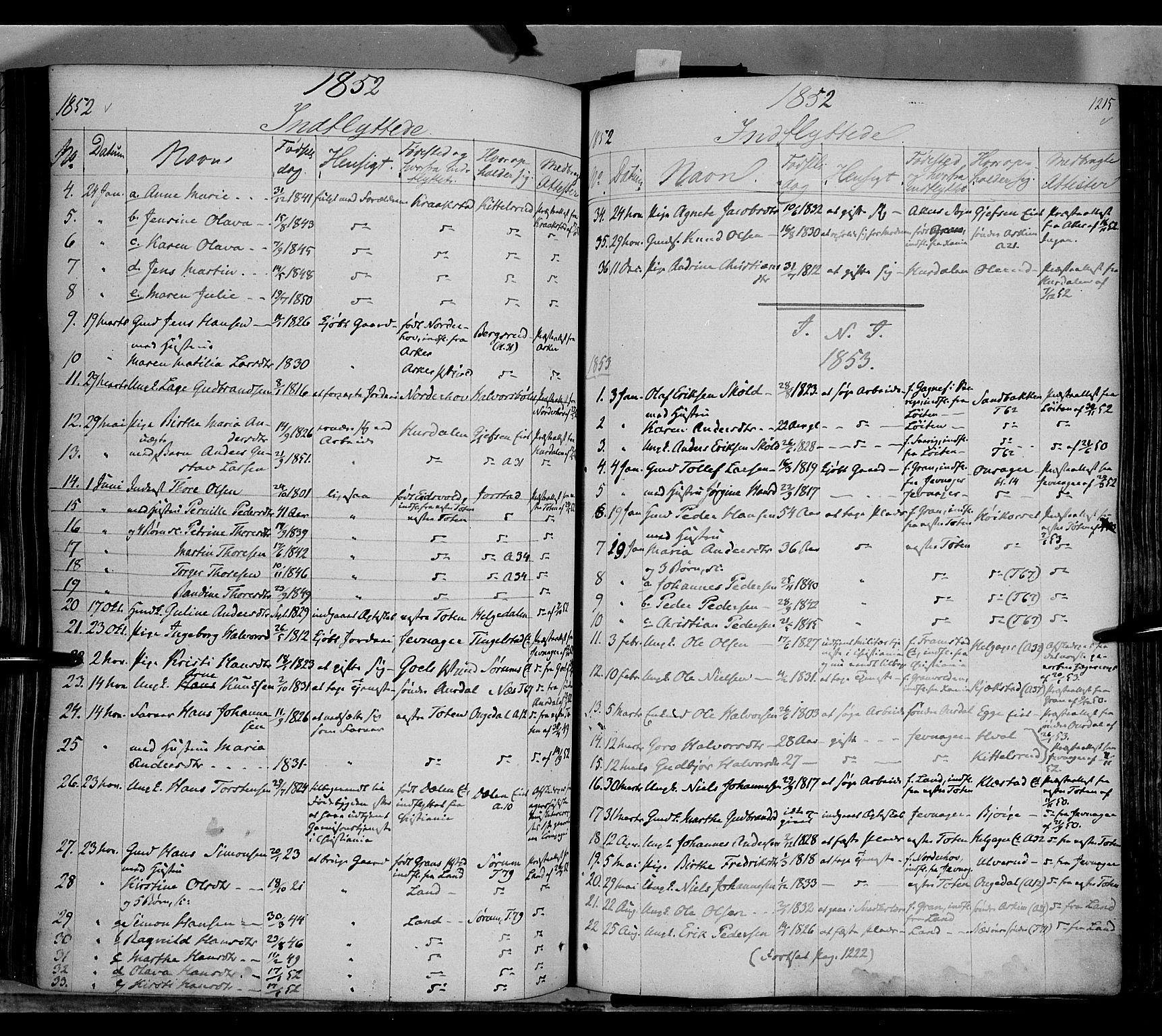 SAH, Gran prestekontor, Ministerialbok nr. 11, 1842-1856, s. 1214-1215
