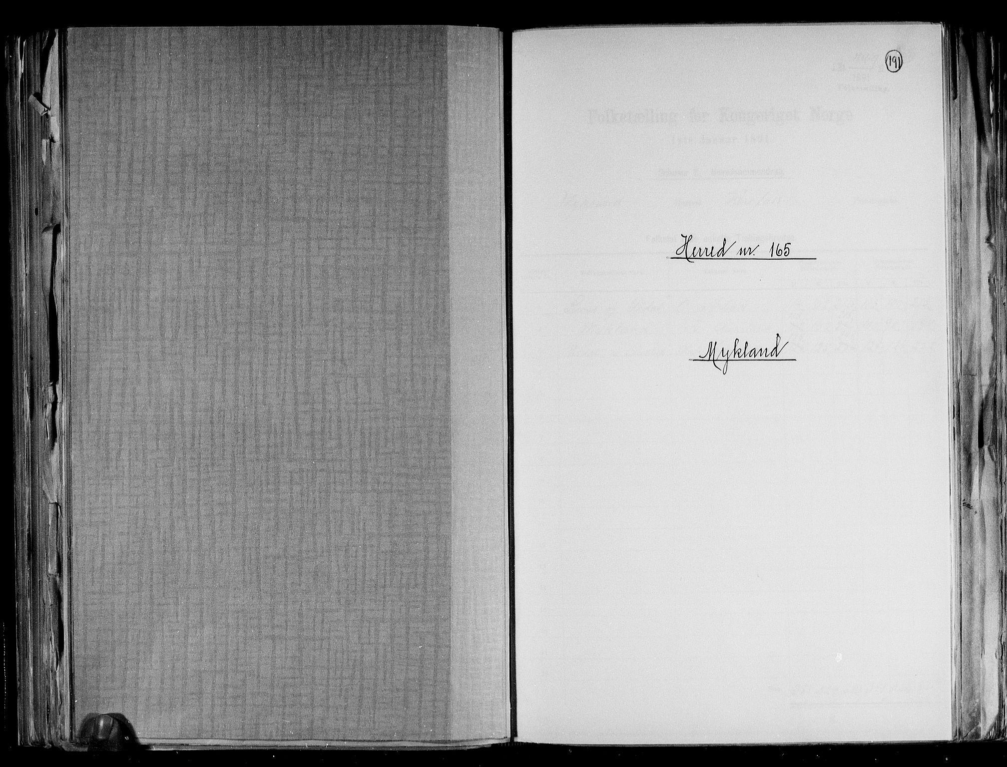 RA, Folketelling 1891 for 0932 Mykland herred, 1891, s. 1