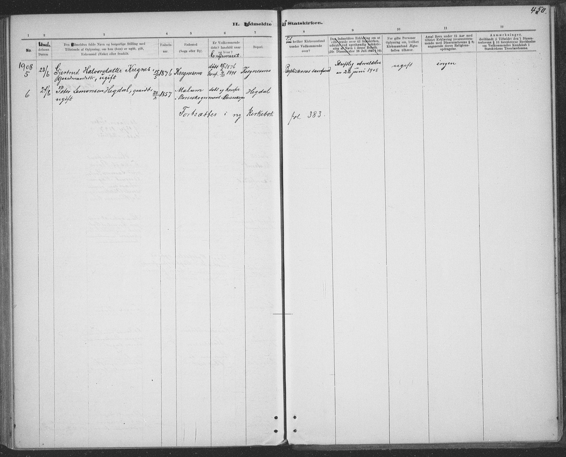 SAT, Ministerialprotokoller, klokkerbøker og fødselsregistre - Sør-Trøndelag, 691/L1085: Ministerialbok nr. 691A17, 1887-1908, s. 450
