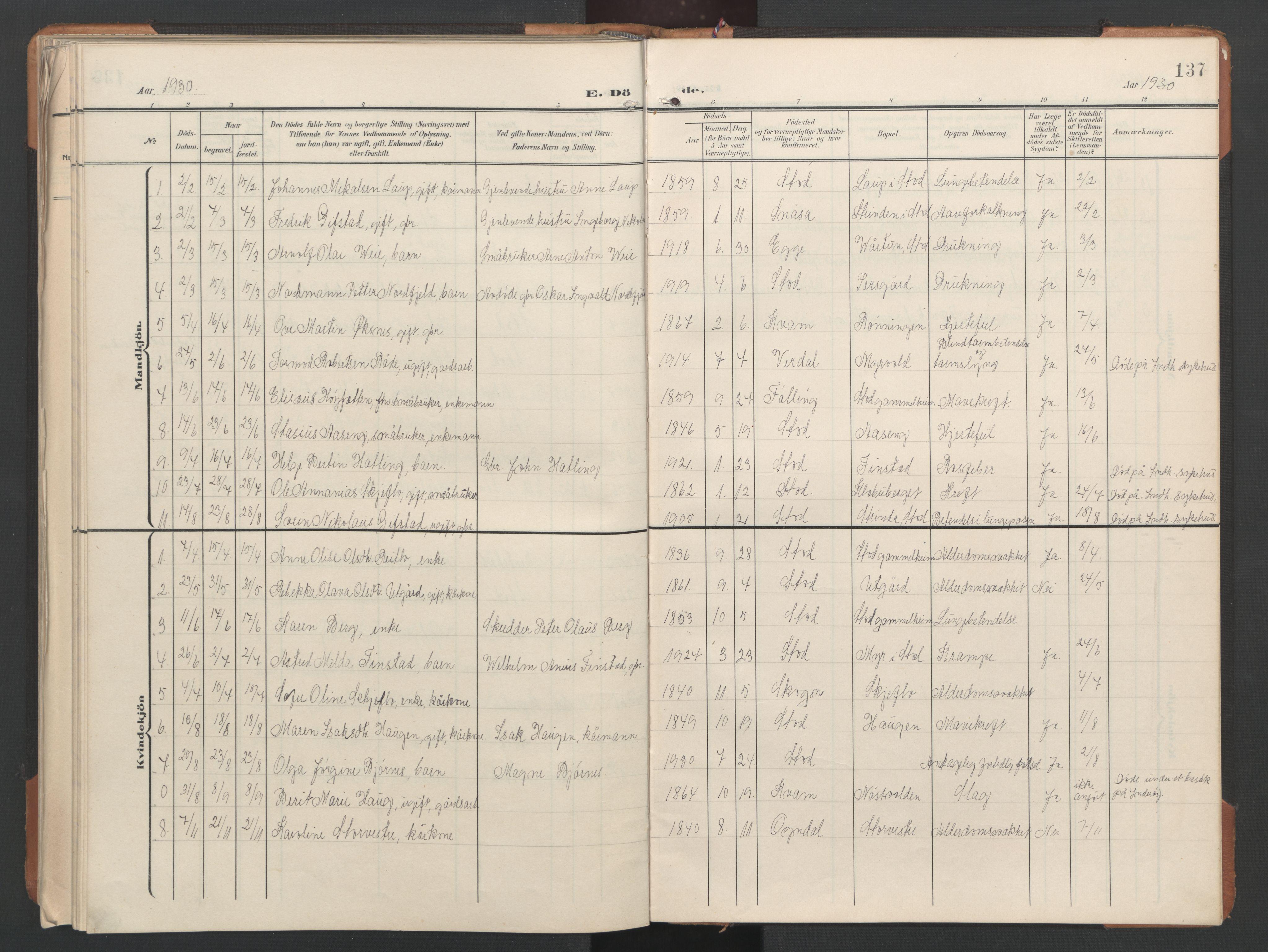 SAT, Ministerialprotokoller, klokkerbøker og fødselsregistre - Nord-Trøndelag, 746/L0455: Klokkerbok nr. 746C01, 1908-1933, s. 137