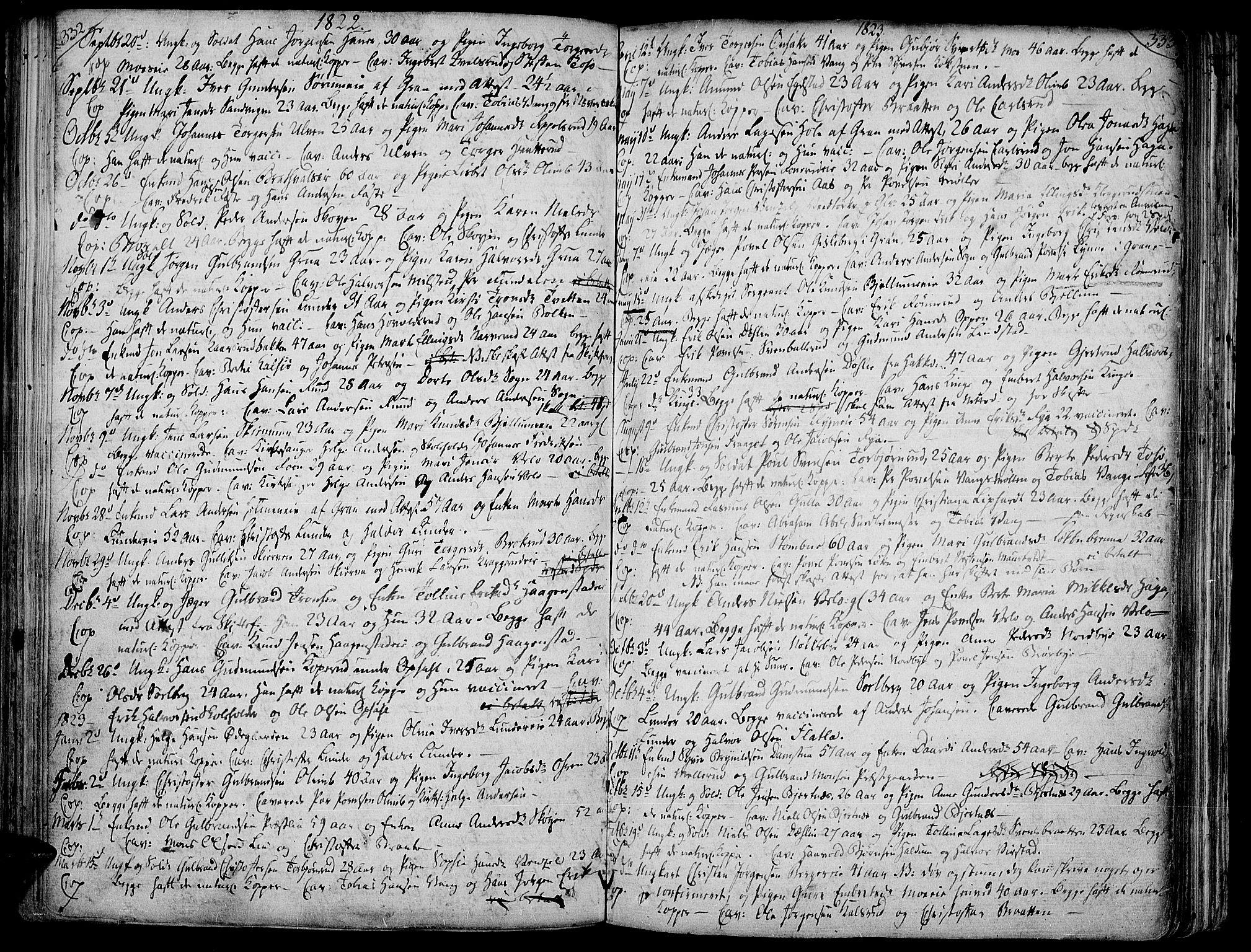 SAH, Jevnaker prestekontor, Ministerialbok nr. 4, 1800-1861, s. 332-333