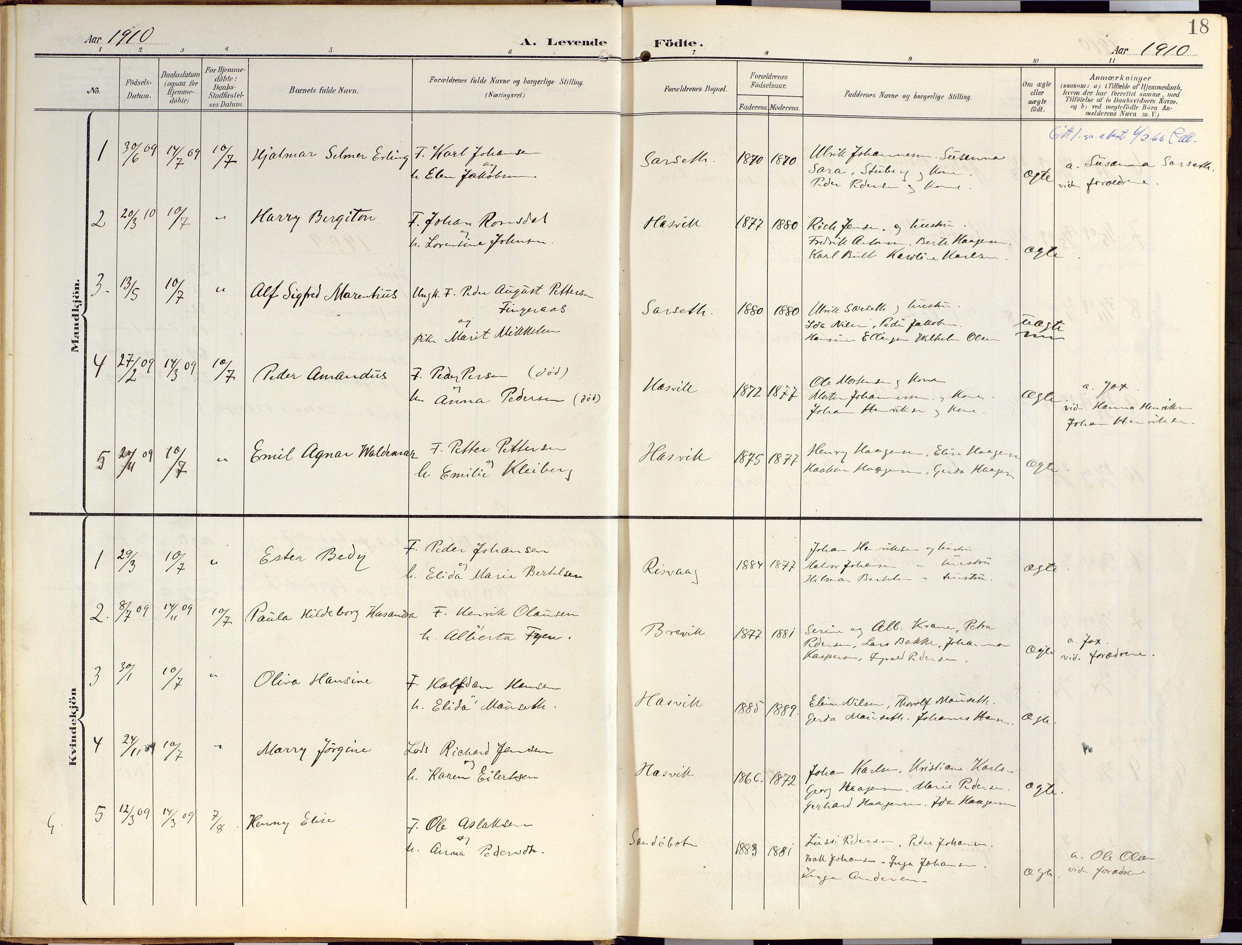 SATØ, Loppa sokneprestkontor, H/Ha/L0010kirke: Ministerialbok nr. 10, 1907-1922, s. 18