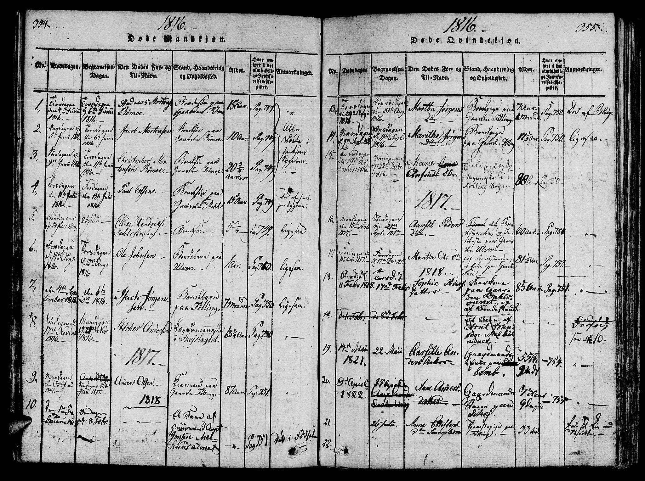 SAT, Ministerialprotokoller, klokkerbøker og fødselsregistre - Nord-Trøndelag, 746/L0441: Ministerialbok nr. 746A03 /4, 1816-1827, s. 354-355