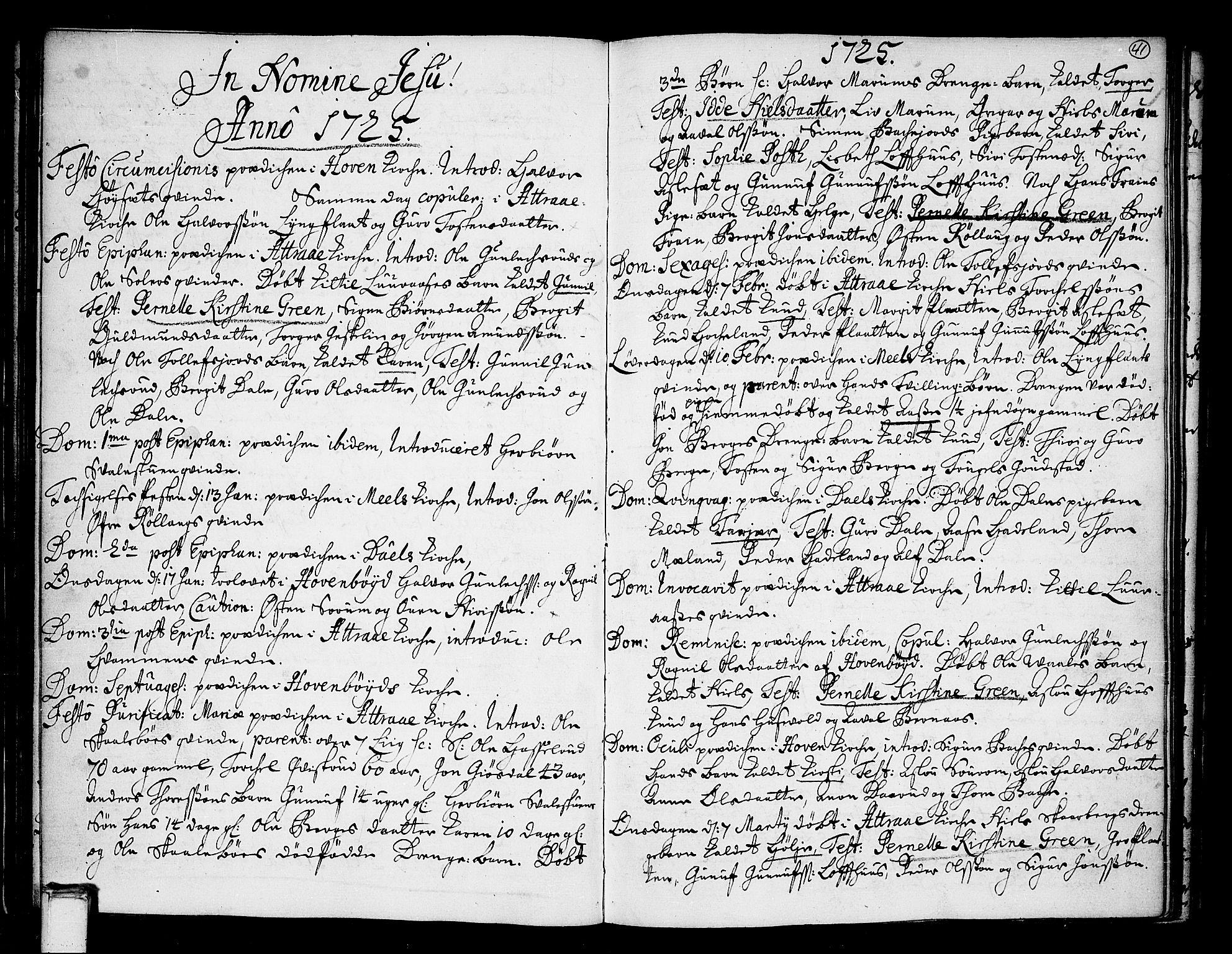 SAKO, Tinn kirkebøker, F/Fa/L0001: Ministerialbok nr. I 1, 1717-1734, s. 41