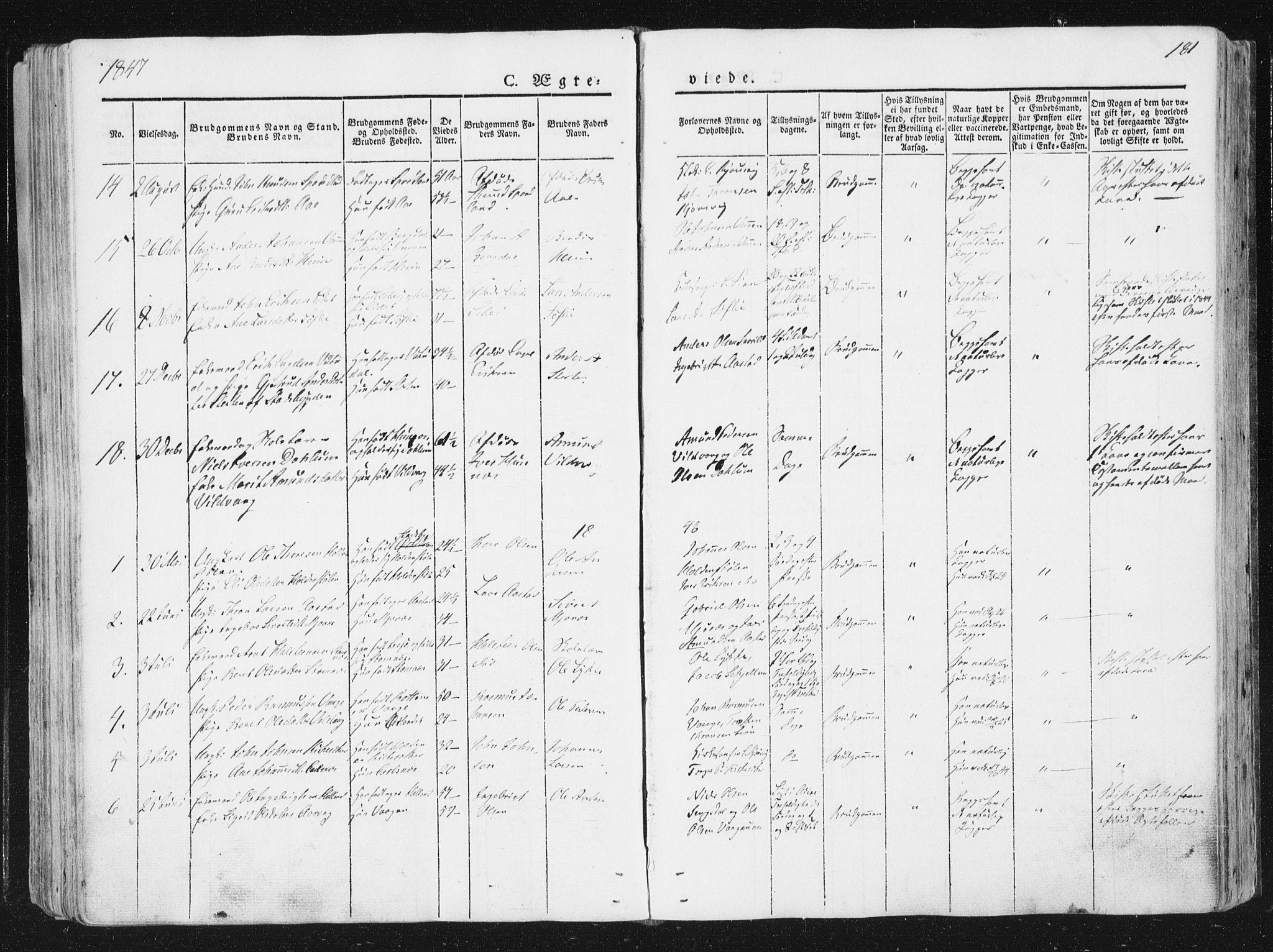 SAT, Ministerialprotokoller, klokkerbøker og fødselsregistre - Sør-Trøndelag, 630/L0493: Ministerialbok nr. 630A06, 1841-1851, s. 181