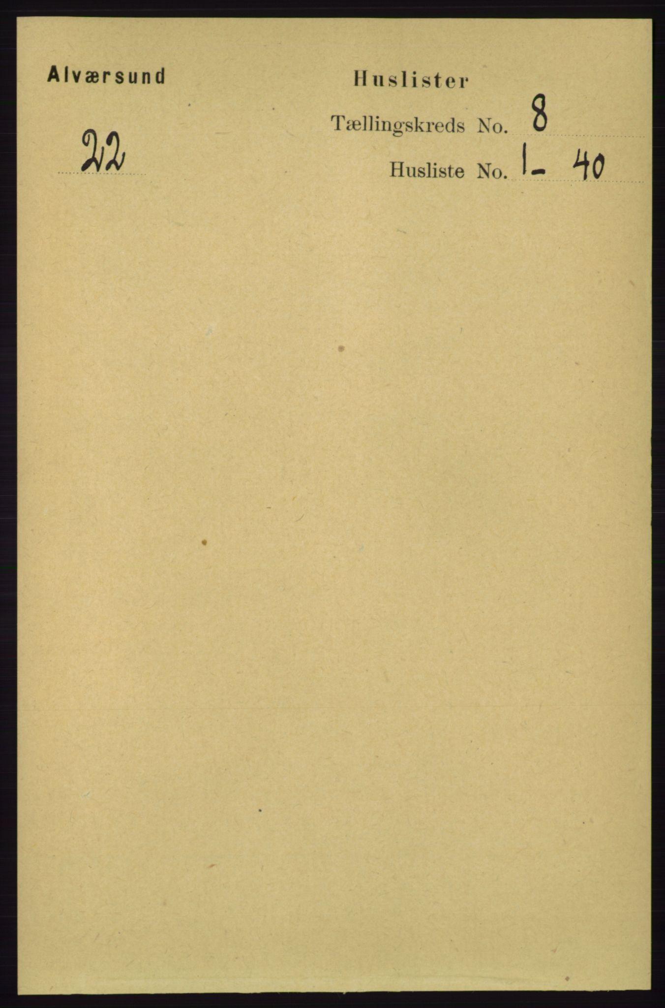 RA, Folketelling 1891 for 1257 Alversund herred, 1891, s. 2727