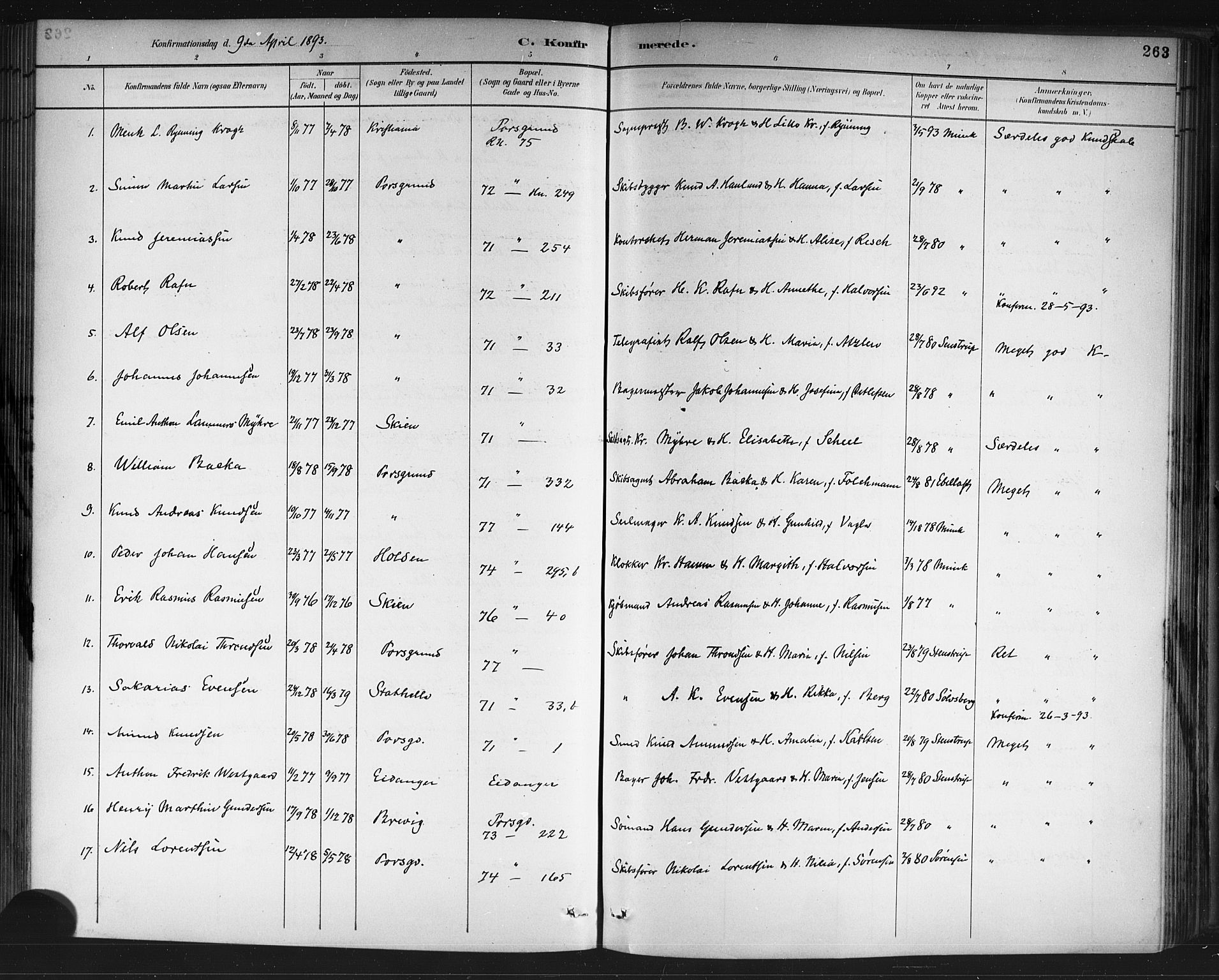 SAKO, Porsgrunn kirkebøker , G/Gb/L0005: Klokkerbok nr. II 5, 1883-1915, s. 263