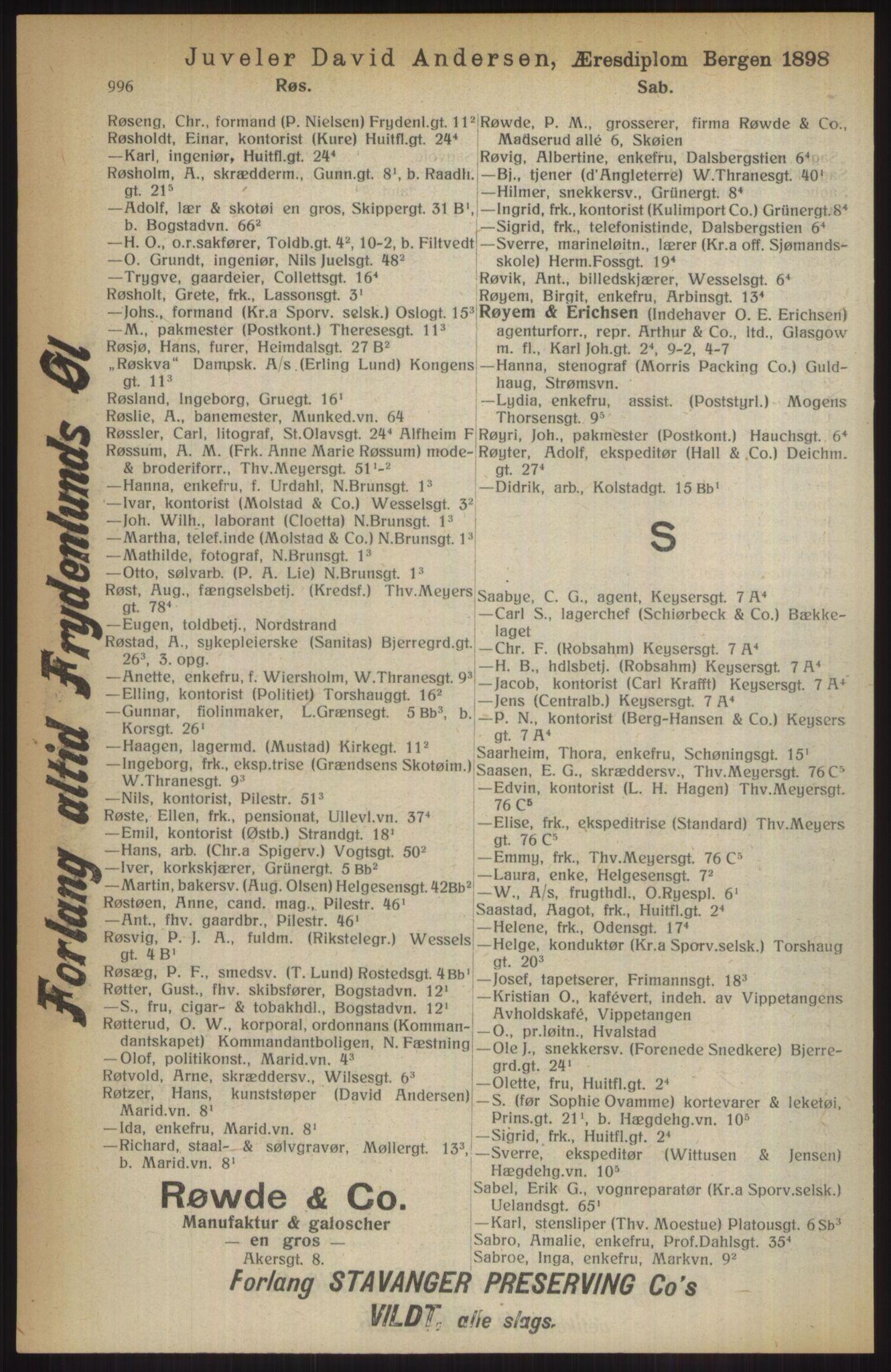 RA, Kristiania adressebok (publikasjon)*, 1914, s. 996