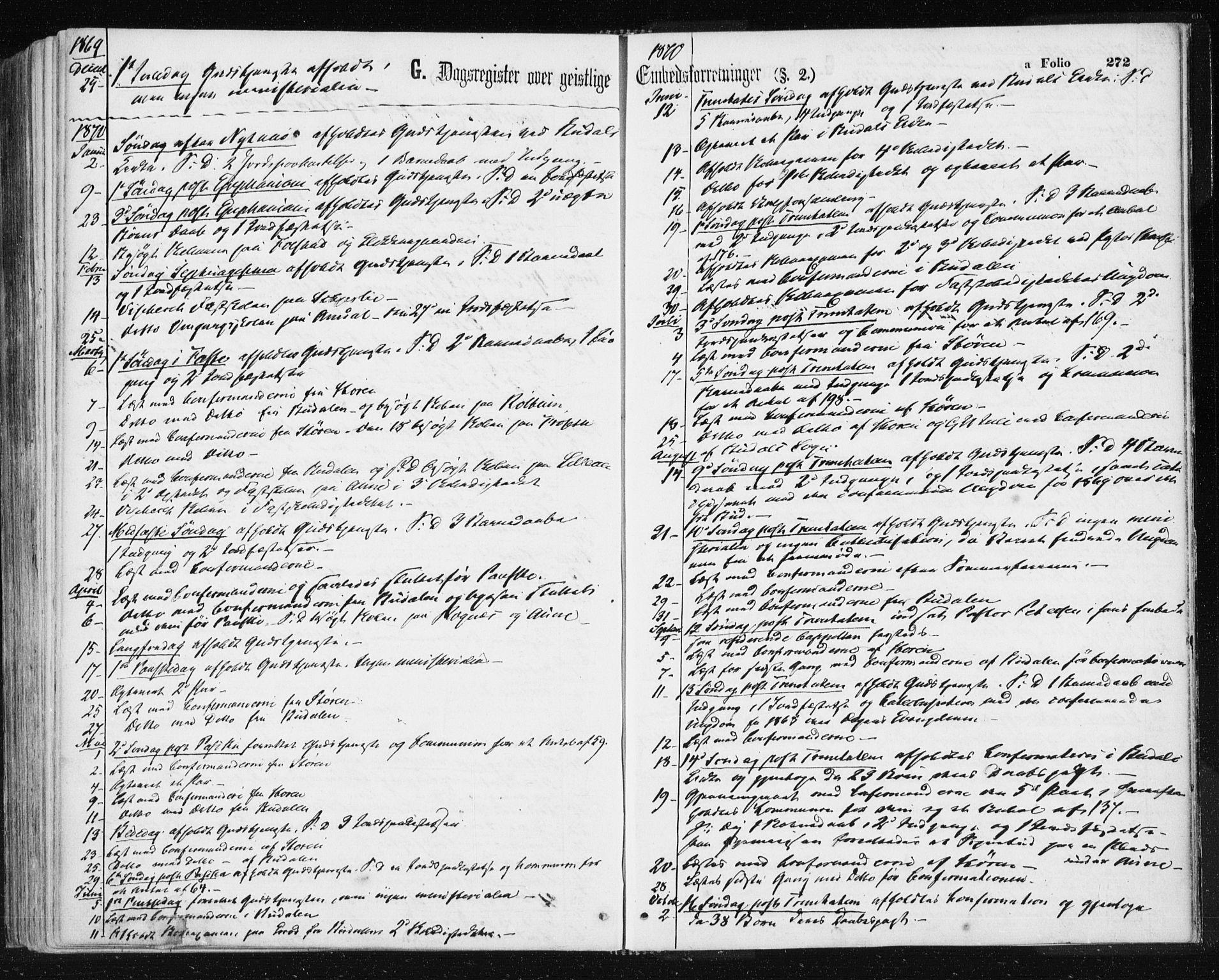 SAT, Ministerialprotokoller, klokkerbøker og fødselsregistre - Sør-Trøndelag, 687/L1001: Ministerialbok nr. 687A07, 1863-1878, s. 272