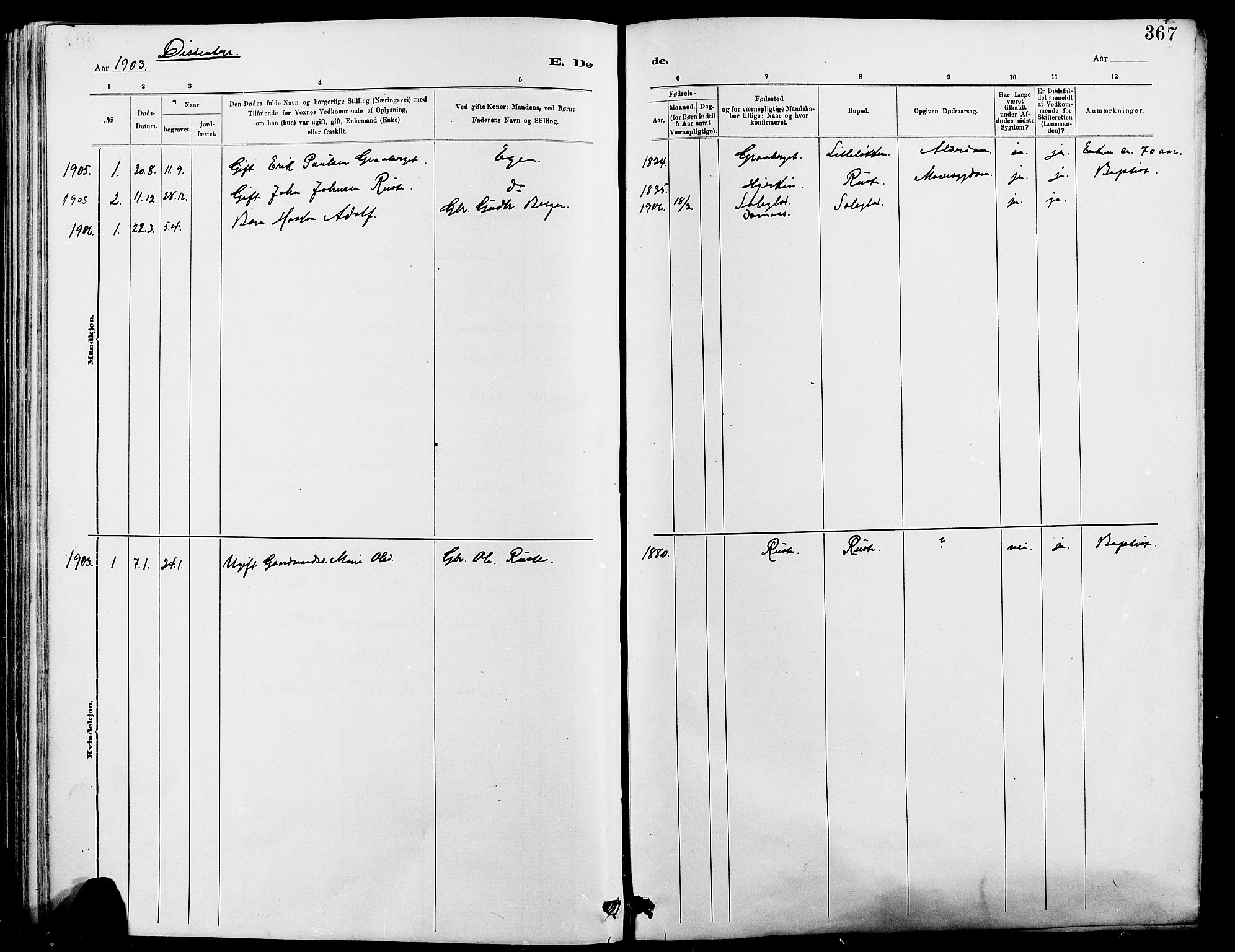 SAH, Dovre prestekontor, Klokkerbok nr. 2, 1881-1907, s. 367
