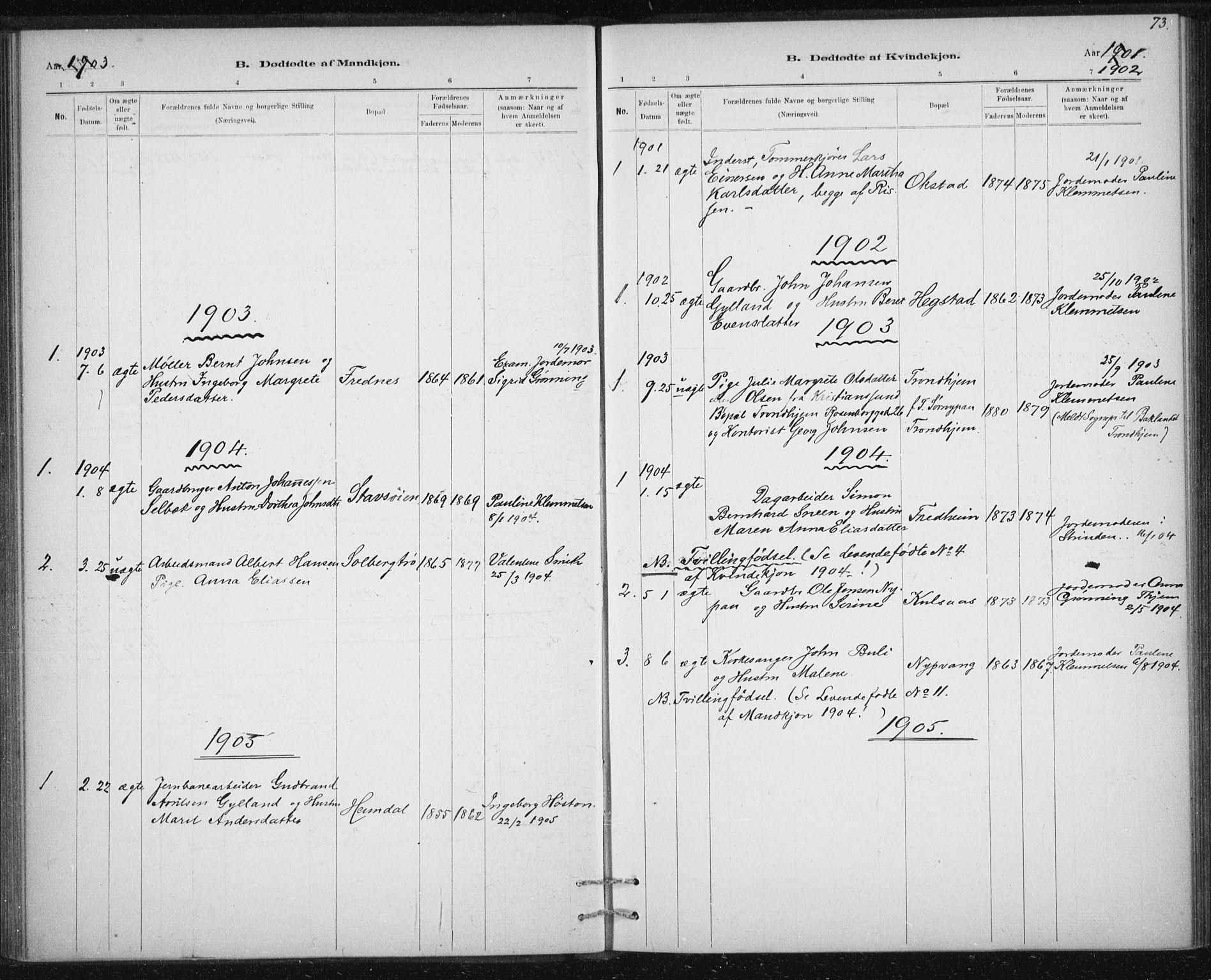 SAT, Ministerialprotokoller, klokkerbøker og fødselsregistre - Sør-Trøndelag, 613/L0392: Ministerialbok nr. 613A01, 1887-1906, s. 73