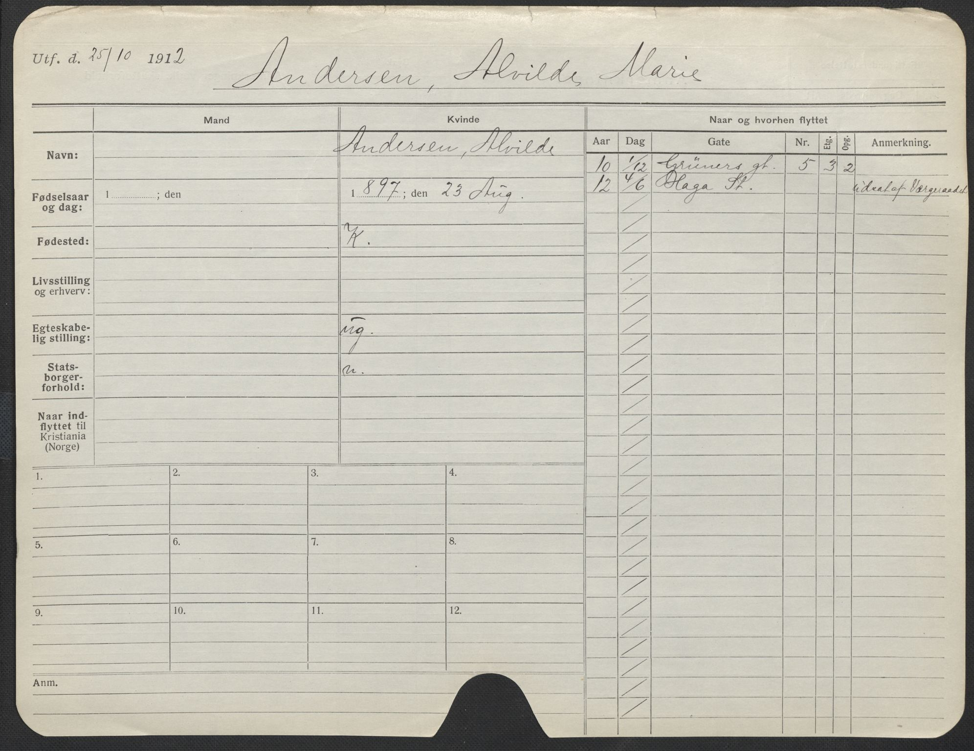 SAO, Oslo folkeregister, Registerkort, F/Fa/Fac/L0012: Kvinner, 1906-1914, s. 201a