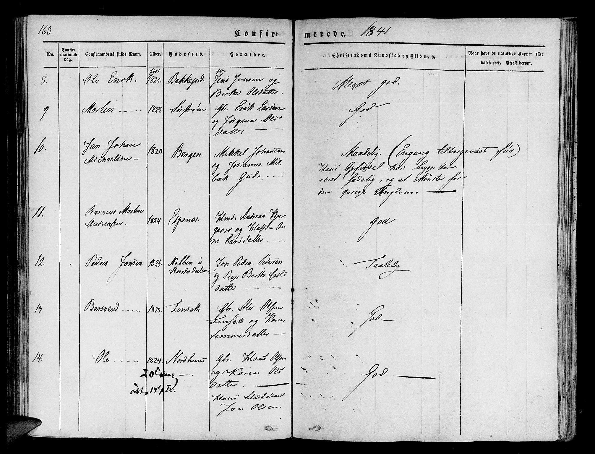 SATØ, Tranøy sokneprestkontor, I/Ia/Iaa/L0005kirke: Ministerialbok nr. 5, 1829-1844, s. 160