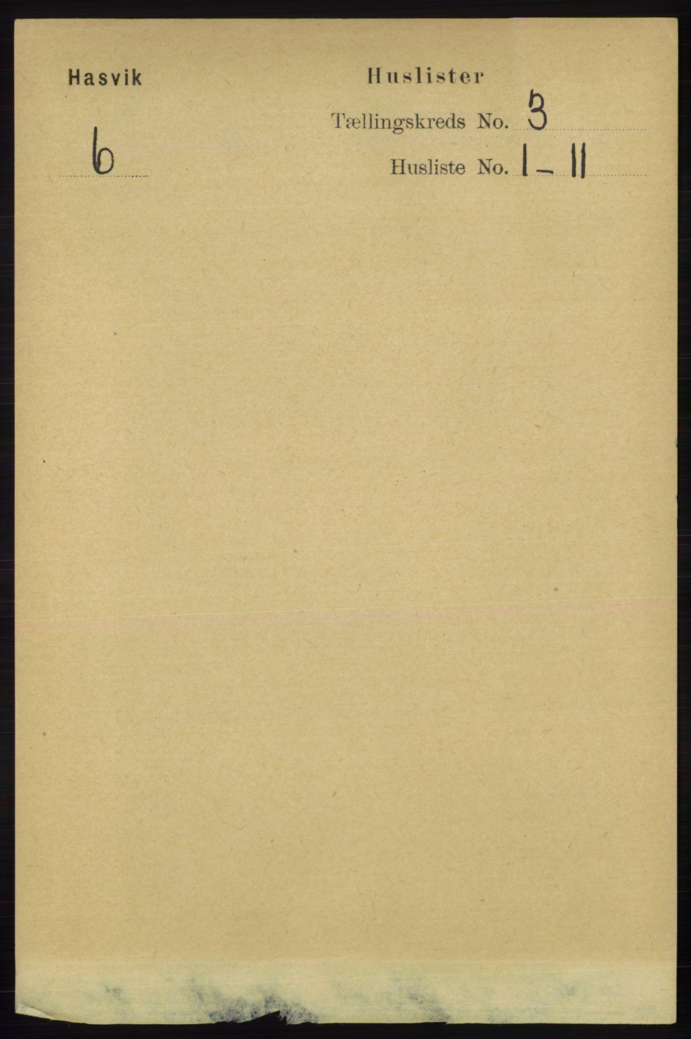 RA, Folketelling 1891 for 2015 Hasvik herred, 1891, s. 388