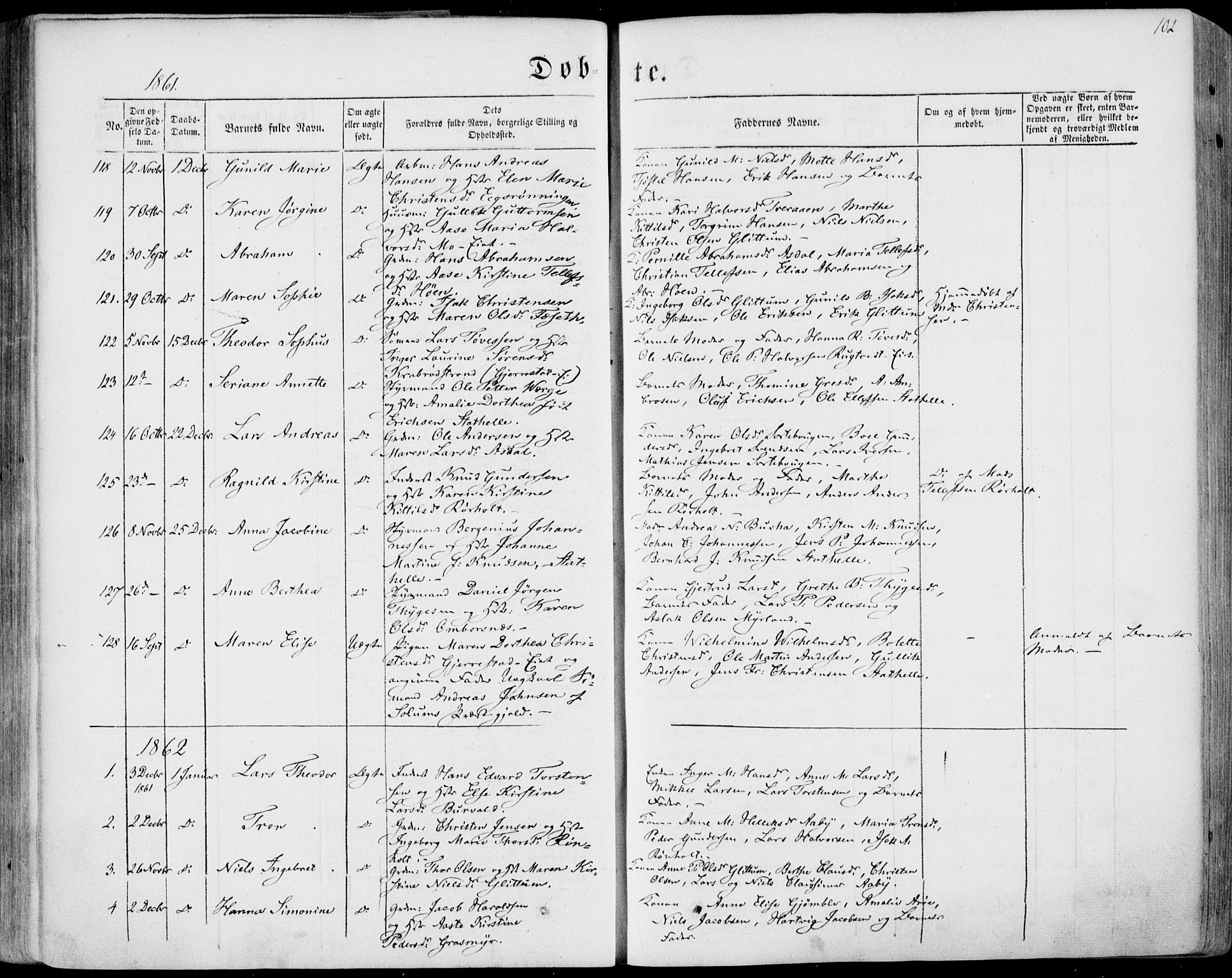 SAKO, Bamble kirkebøker, F/Fa/L0005: Ministerialbok nr. I 5, 1854-1869, s. 102