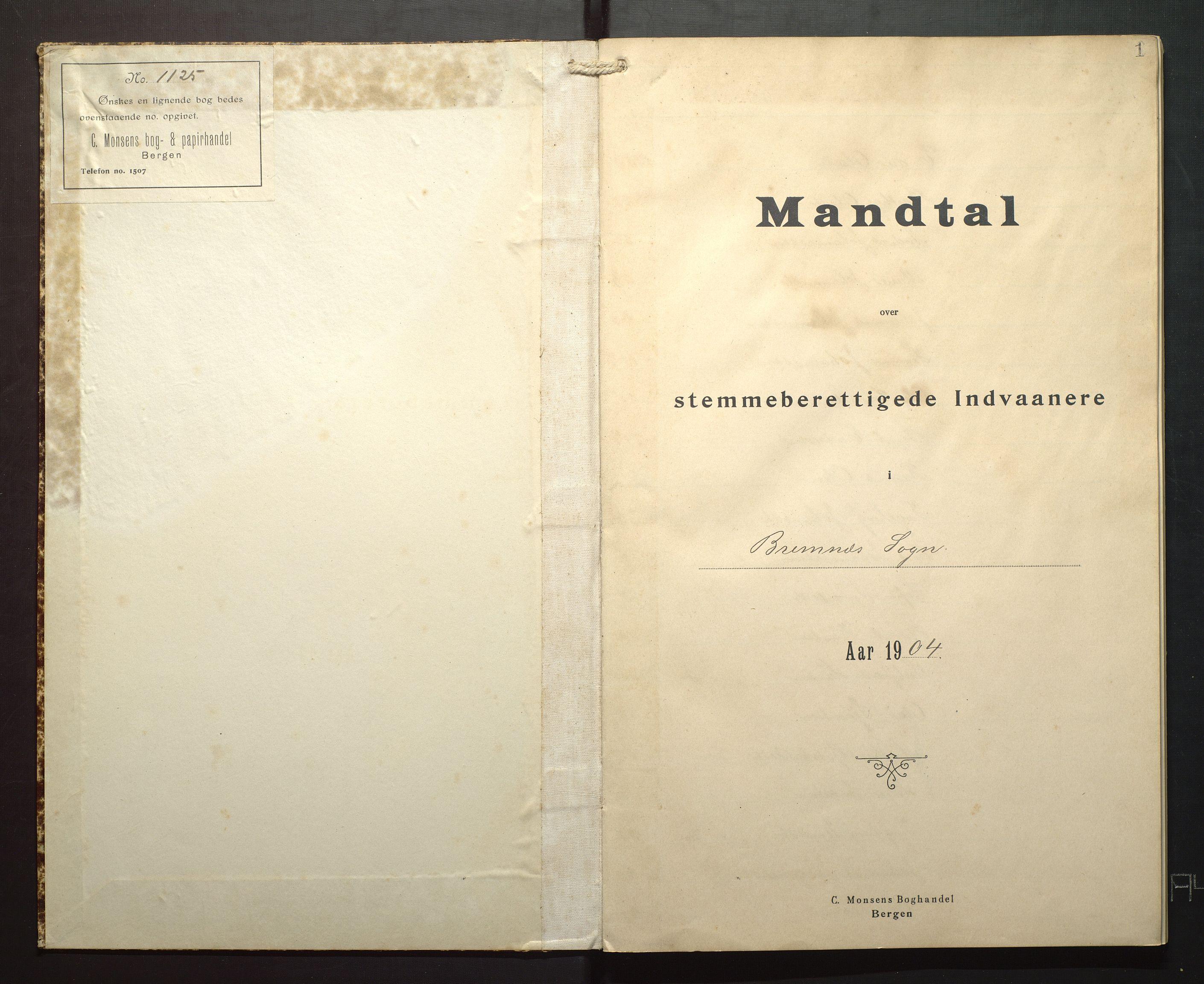 IKAH, Finnaas kommune. Valstyret, F/Fa/L0004: Manntal over røysteføre i Bremnes sokn, 1904, s. 1
