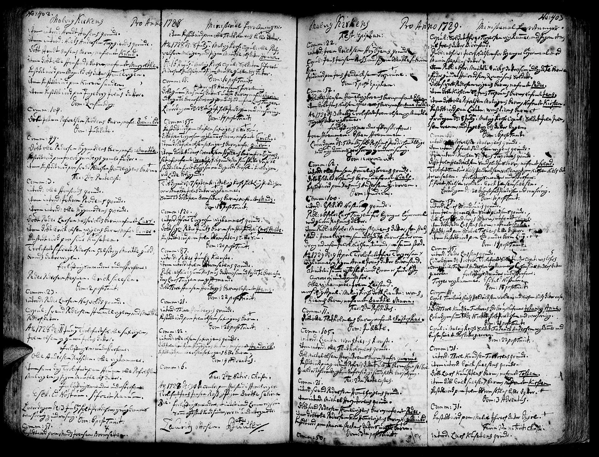 SAT, Ministerialprotokoller, klokkerbøker og fødselsregistre - Sør-Trøndelag, 606/L0277: Ministerialbok nr. 606A01 /3, 1727-1780, s. 402-403