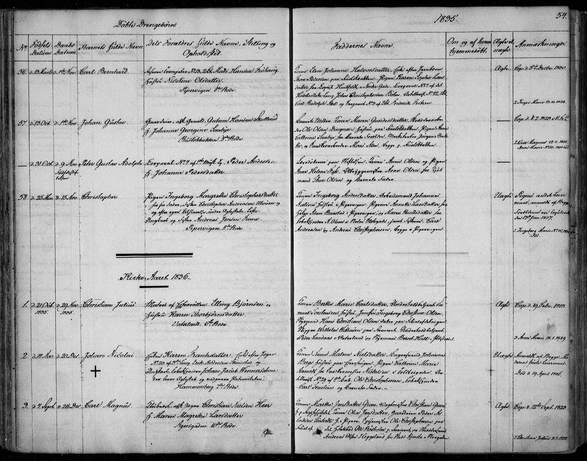 SAO, Garnisonsmenigheten Kirkebøker, F/Fa/L0006: Ministerialbok nr. 6, 1828-1841, s. 54