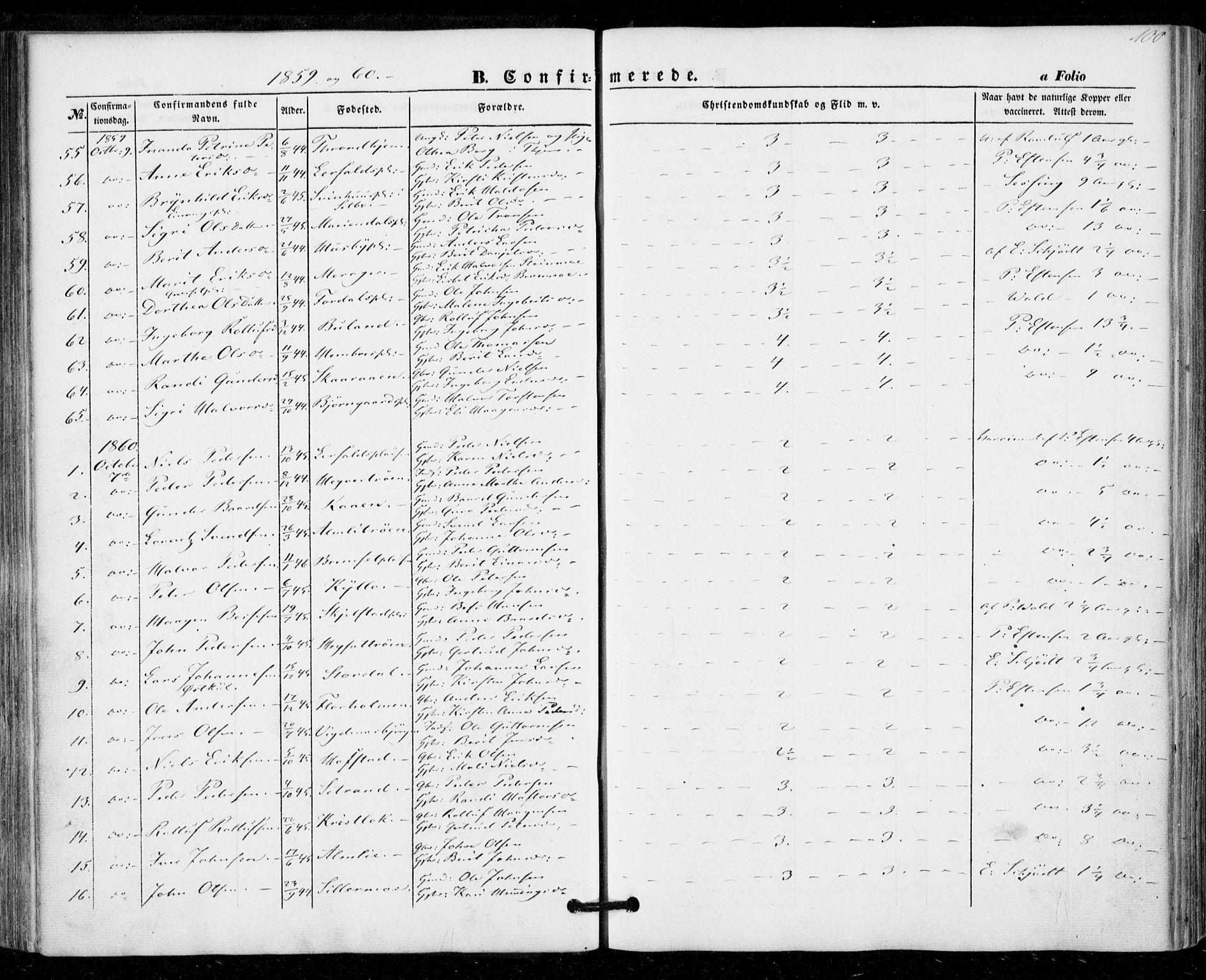 SAT, Ministerialprotokoller, klokkerbøker og fødselsregistre - Nord-Trøndelag, 703/L0028: Ministerialbok nr. 703A01, 1850-1862, s. 100