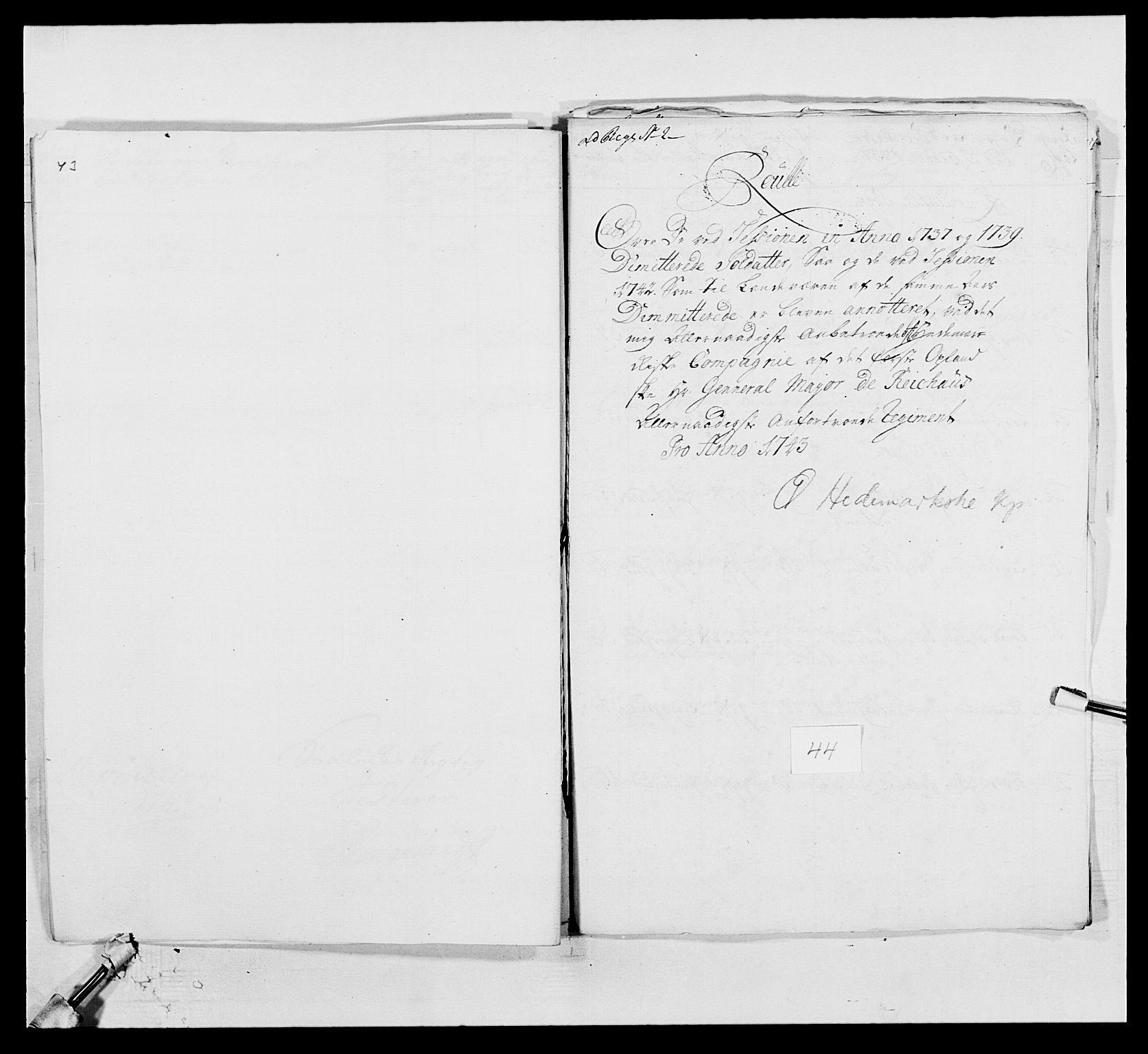 RA, Kommanderende general (KG I) med Det norske krigsdirektorium, E/Ea/L0502: 1. Opplandske regiment, 1720-1743, s. 528