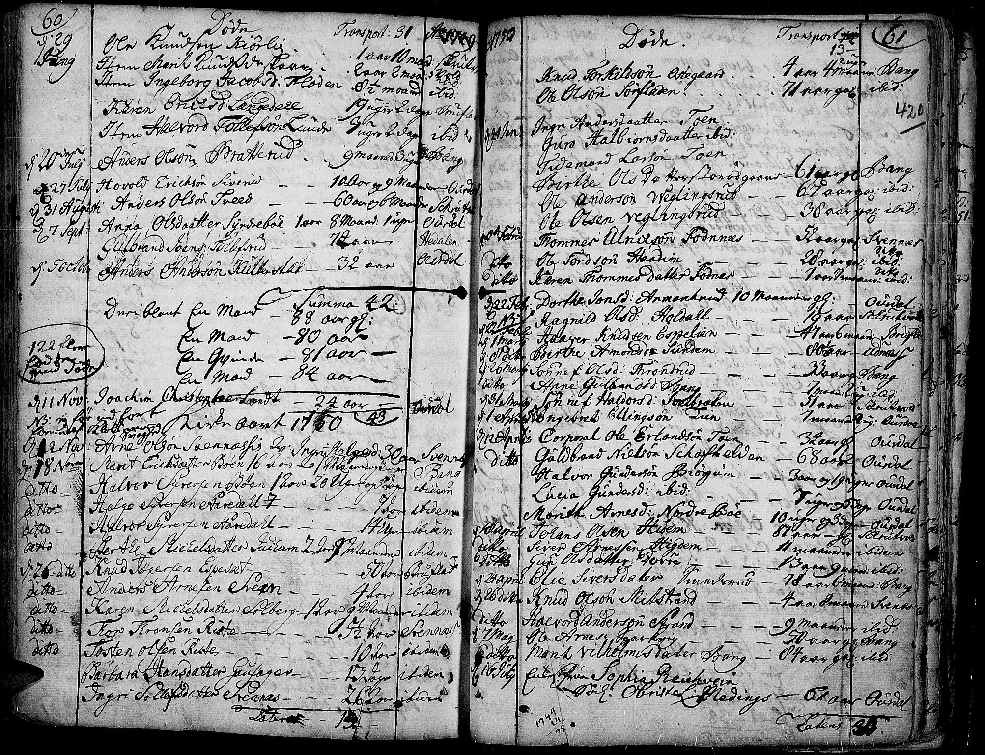 SAH, Aurdal prestekontor, Ministerialbok nr. 4, 1730-1762, s. 60-61