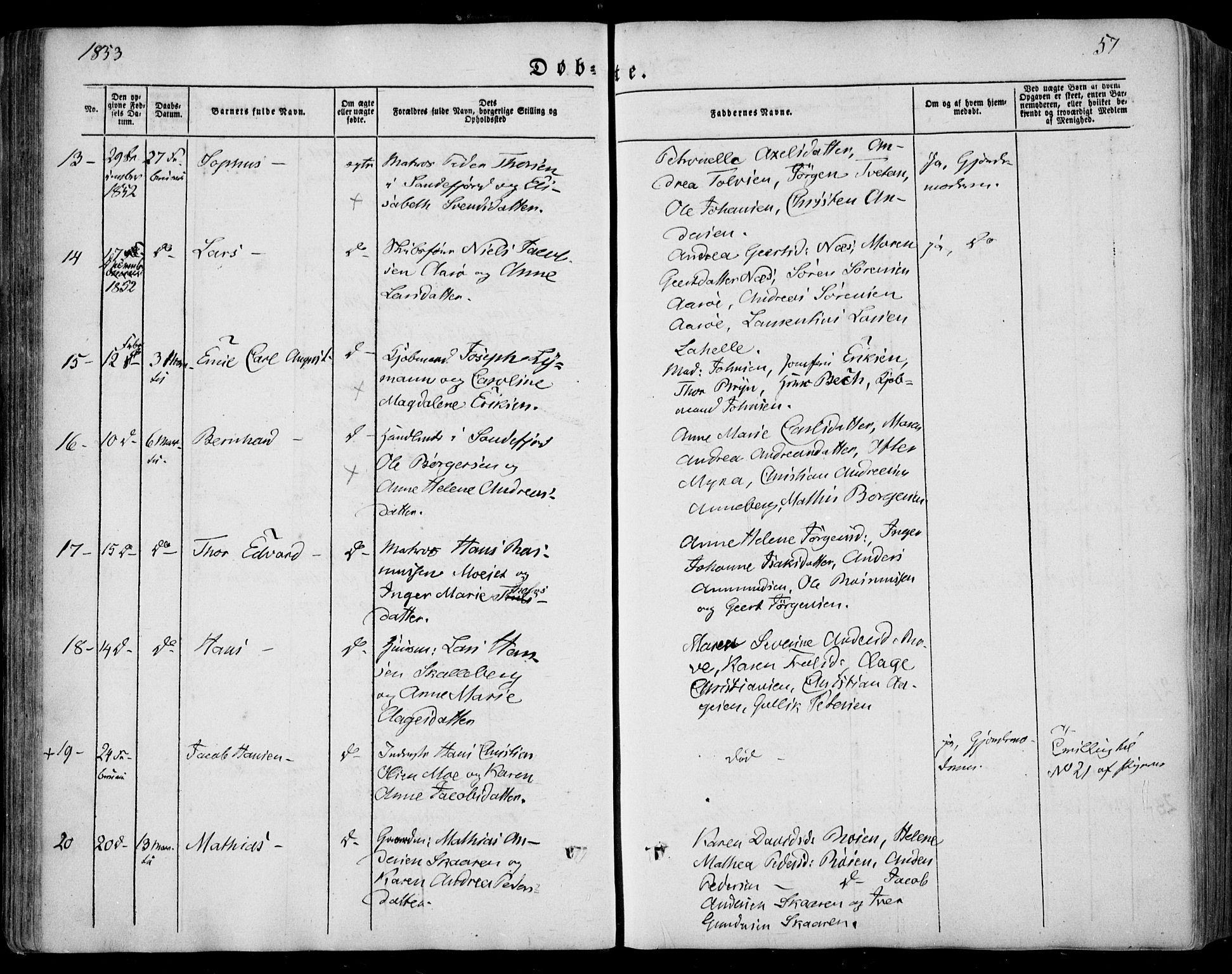 SAKO, Sandar kirkebøker, F/Fa/L0006: Ministerialbok nr. 6, 1847-1860, s. 57