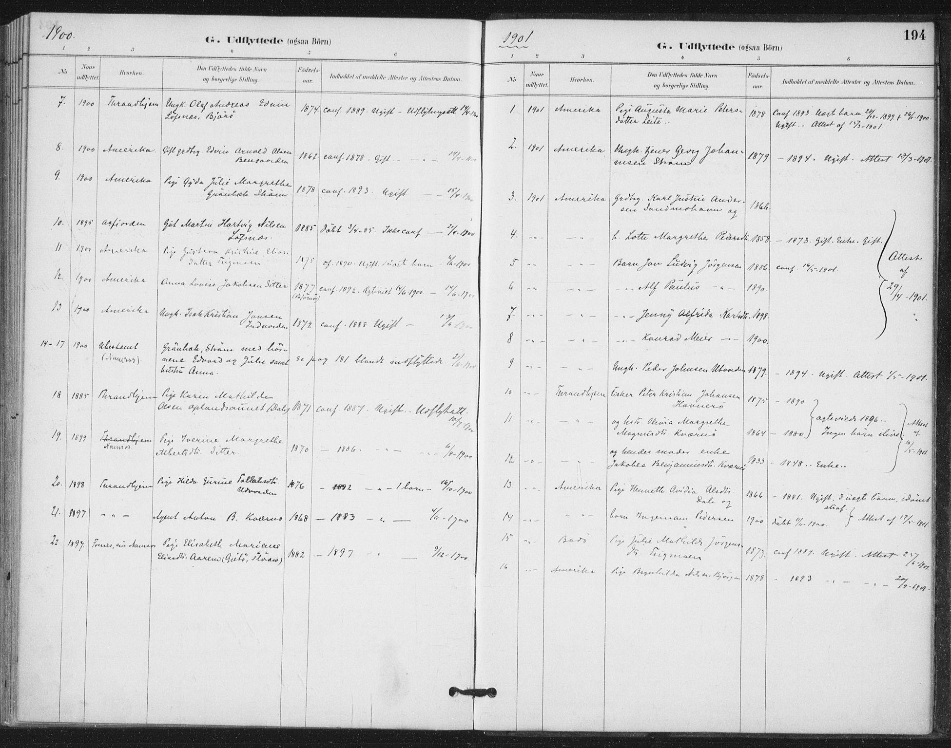SAT, Ministerialprotokoller, klokkerbøker og fødselsregistre - Nord-Trøndelag, 772/L0603: Ministerialbok nr. 772A01, 1885-1912, s. 194