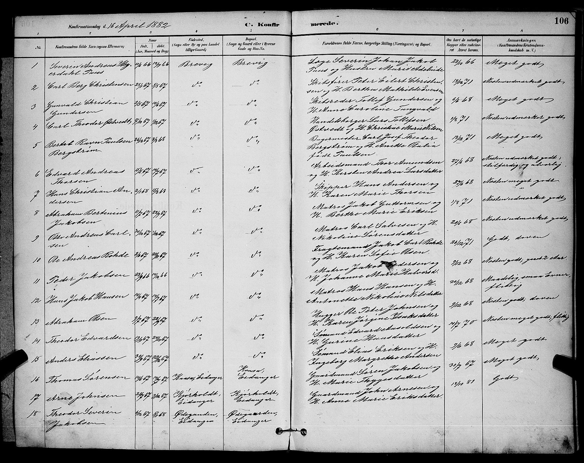 SAKO, Brevik kirkebøker, G/Ga/L0004: Klokkerbok nr. 4, 1882-1900, s. 106