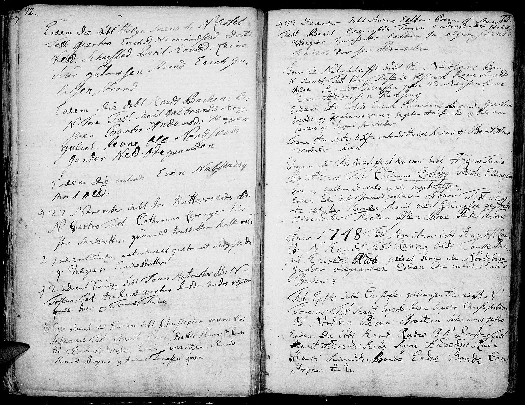 SAH, Vang prestekontor, Valdres, Ministerialbok nr. 1, 1730-1796, s. 72-73