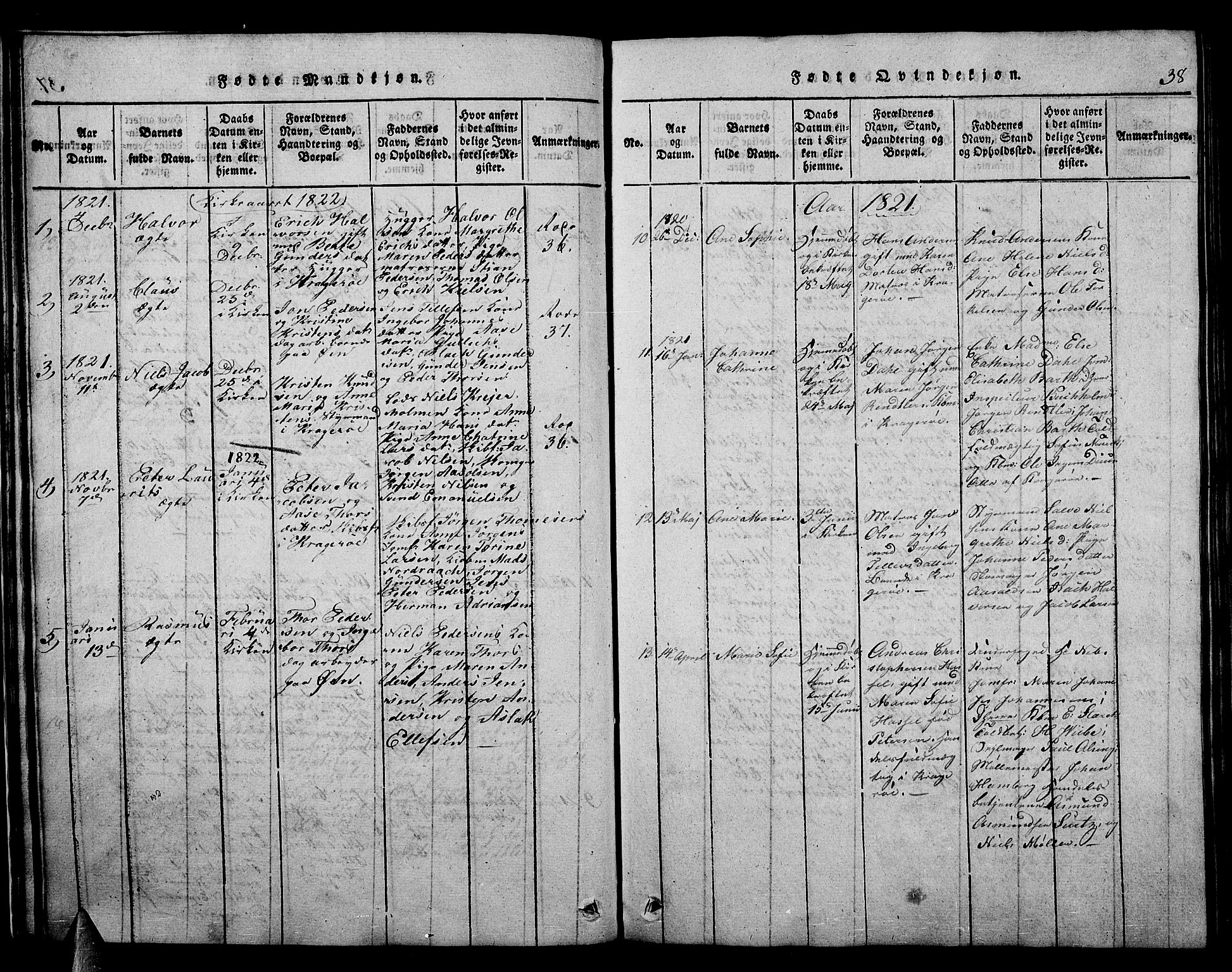 SAKO, Kragerø kirkebøker, F/Fa/L0004: Ministerialbok nr. 4, 1814-1831, s. 38