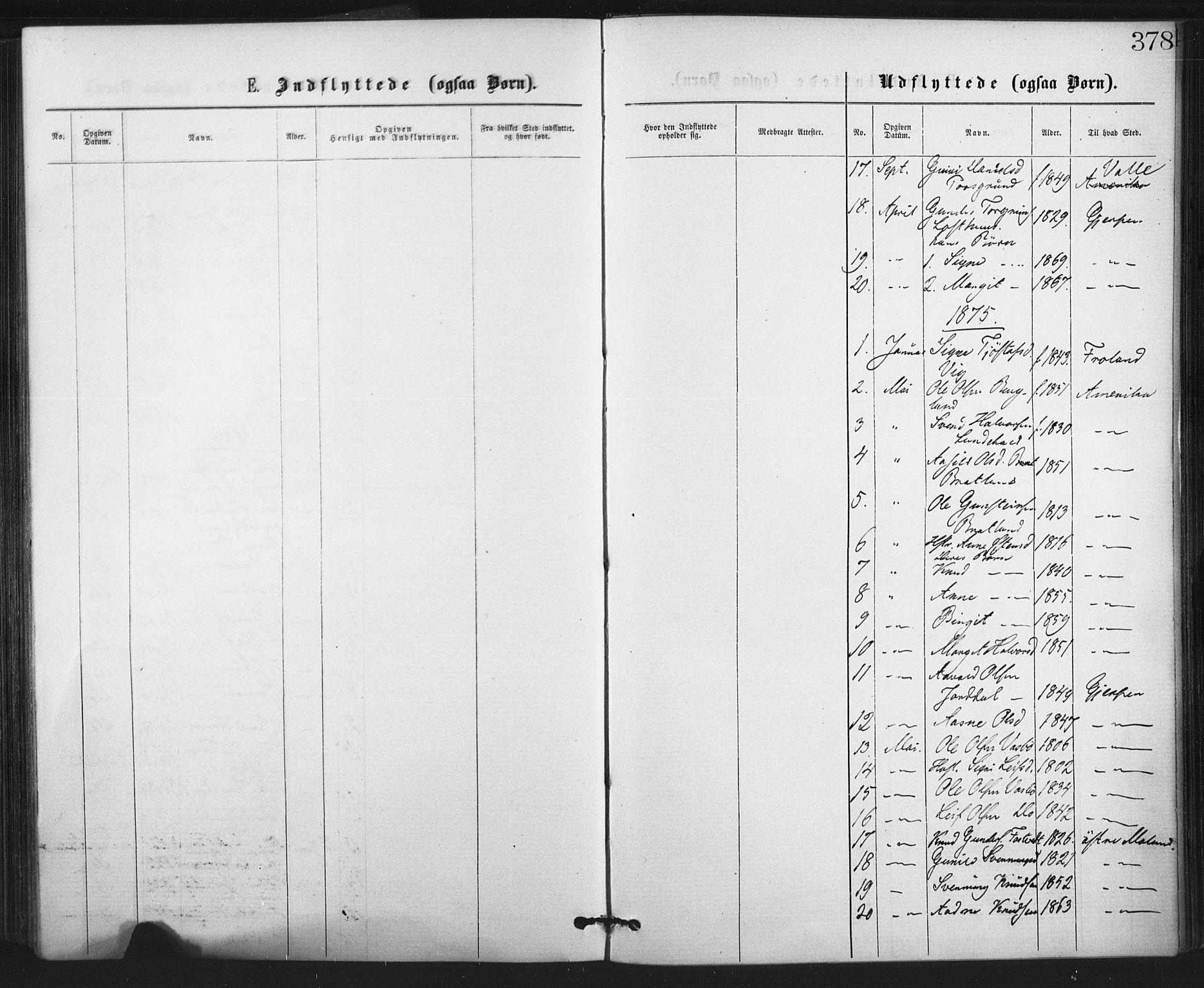 SAKO, Fyresdal kirkebøker, F/Fa/L0006: Ministerialbok nr. I 6, 1872-1886, s. 378
