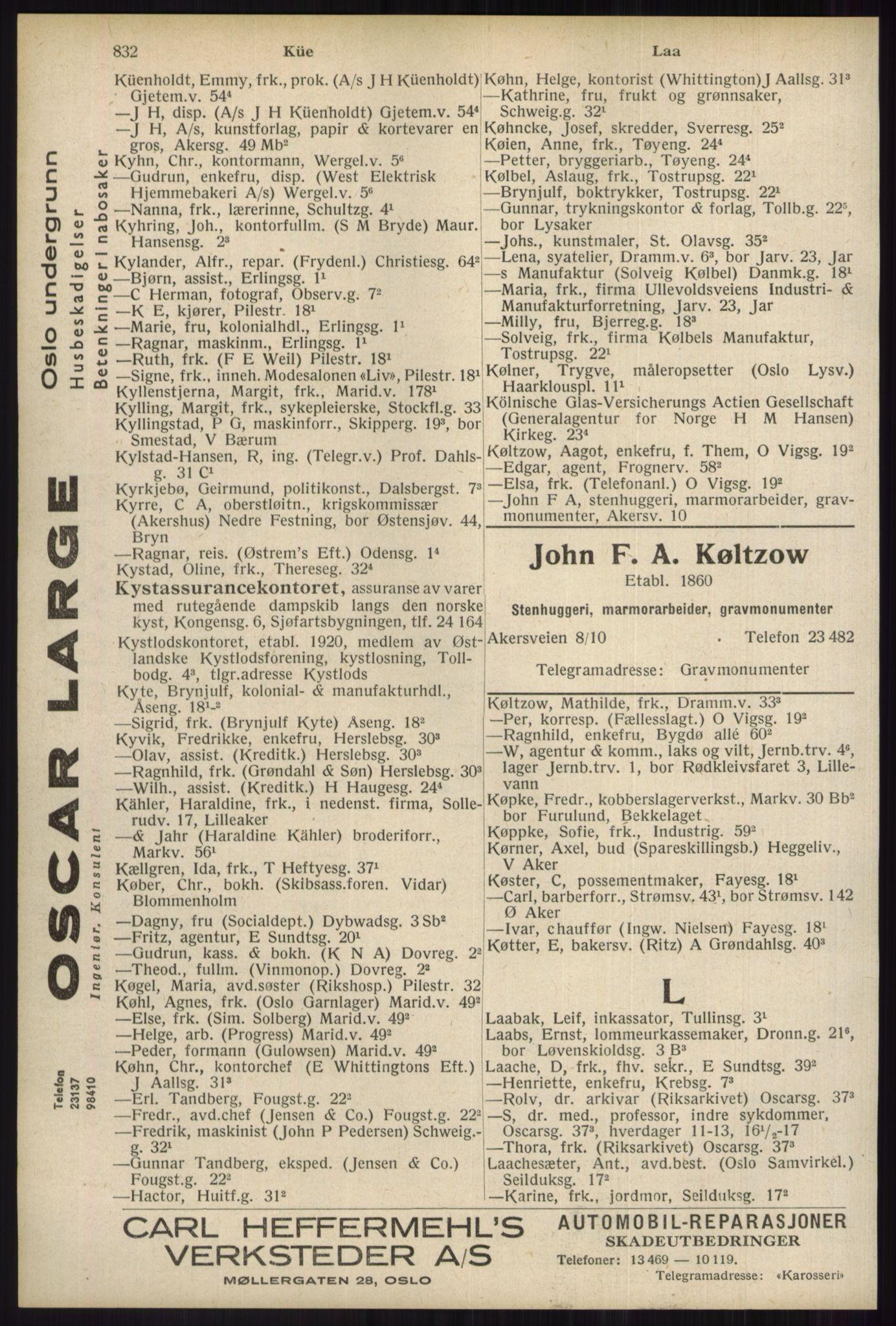 RA, Oslo adressebok (publikasjon)*, 1934, s. 832