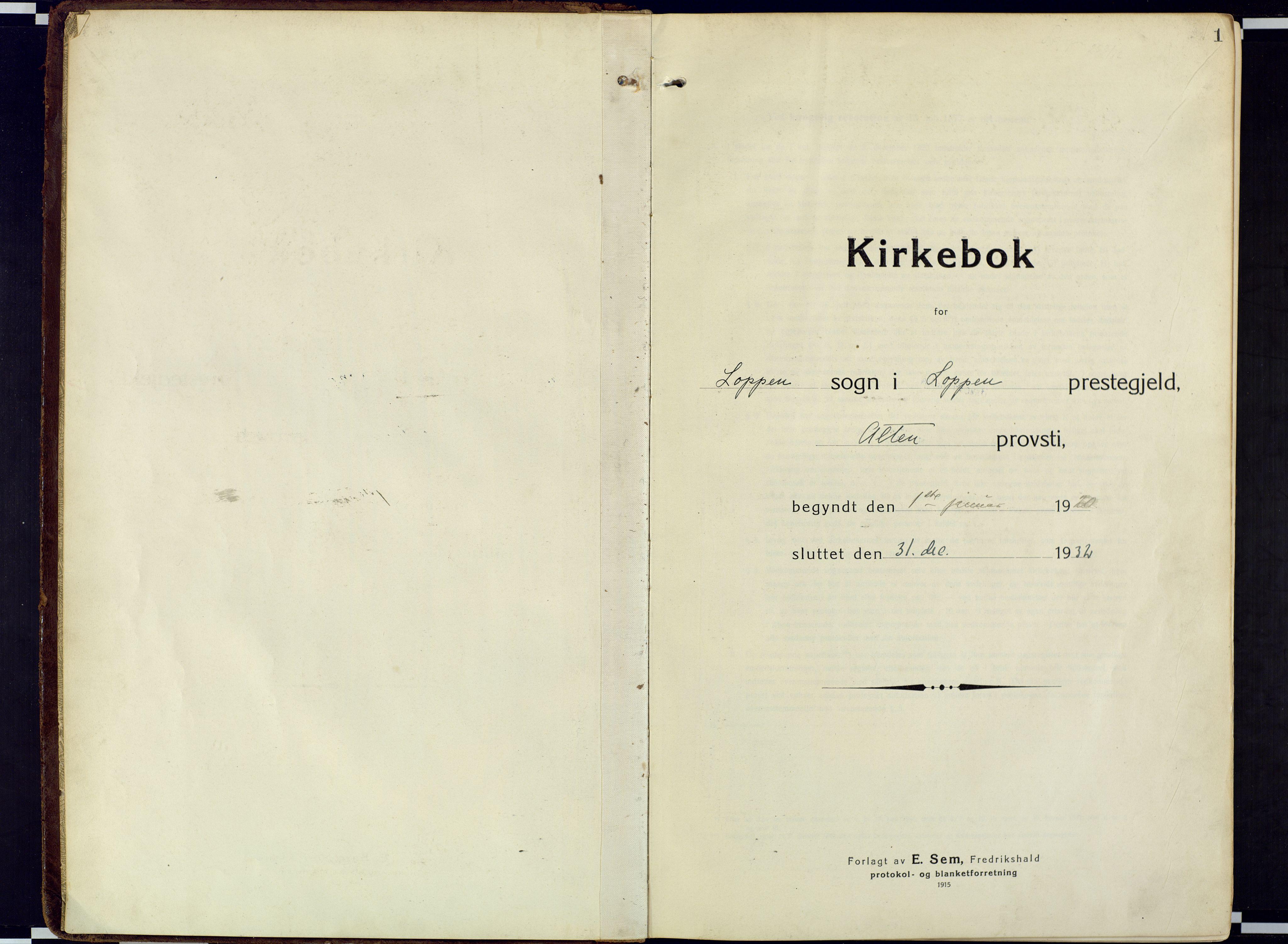 SATØ, Loppa sokneprestkontor, H/Ha/L0013kirke: Ministerialbok nr. 13, 1920-1932, s. 1