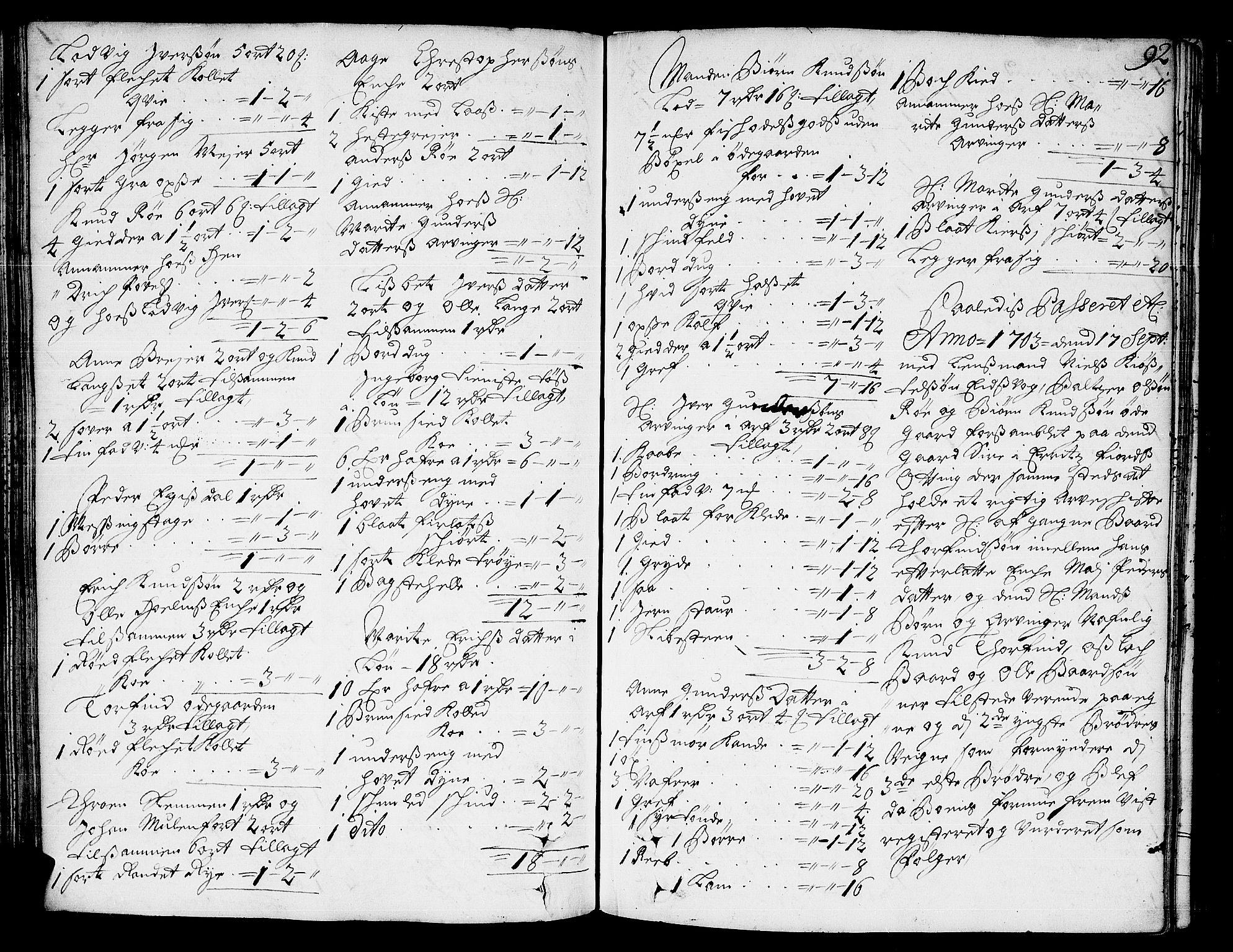 SAT, Romsdal sorenskriveri, 3/3A/L0004: Skifteprotokoll, 1702-1706, s. 91b-92a