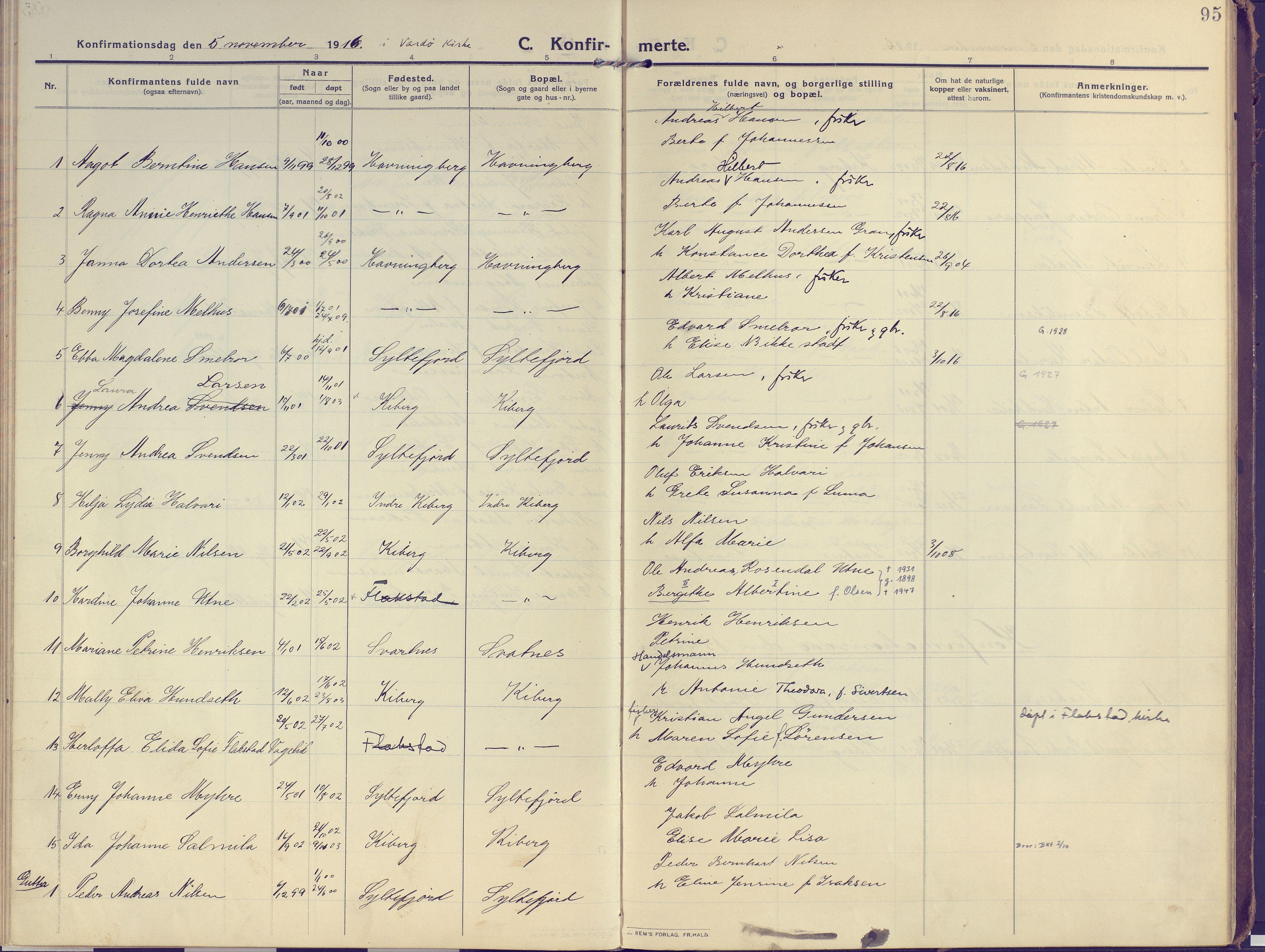 SATØ, Vardø sokneprestkontor, H/Ha/L0013kirke: Ministerialbok nr. 13, 1912-1928, s. 95