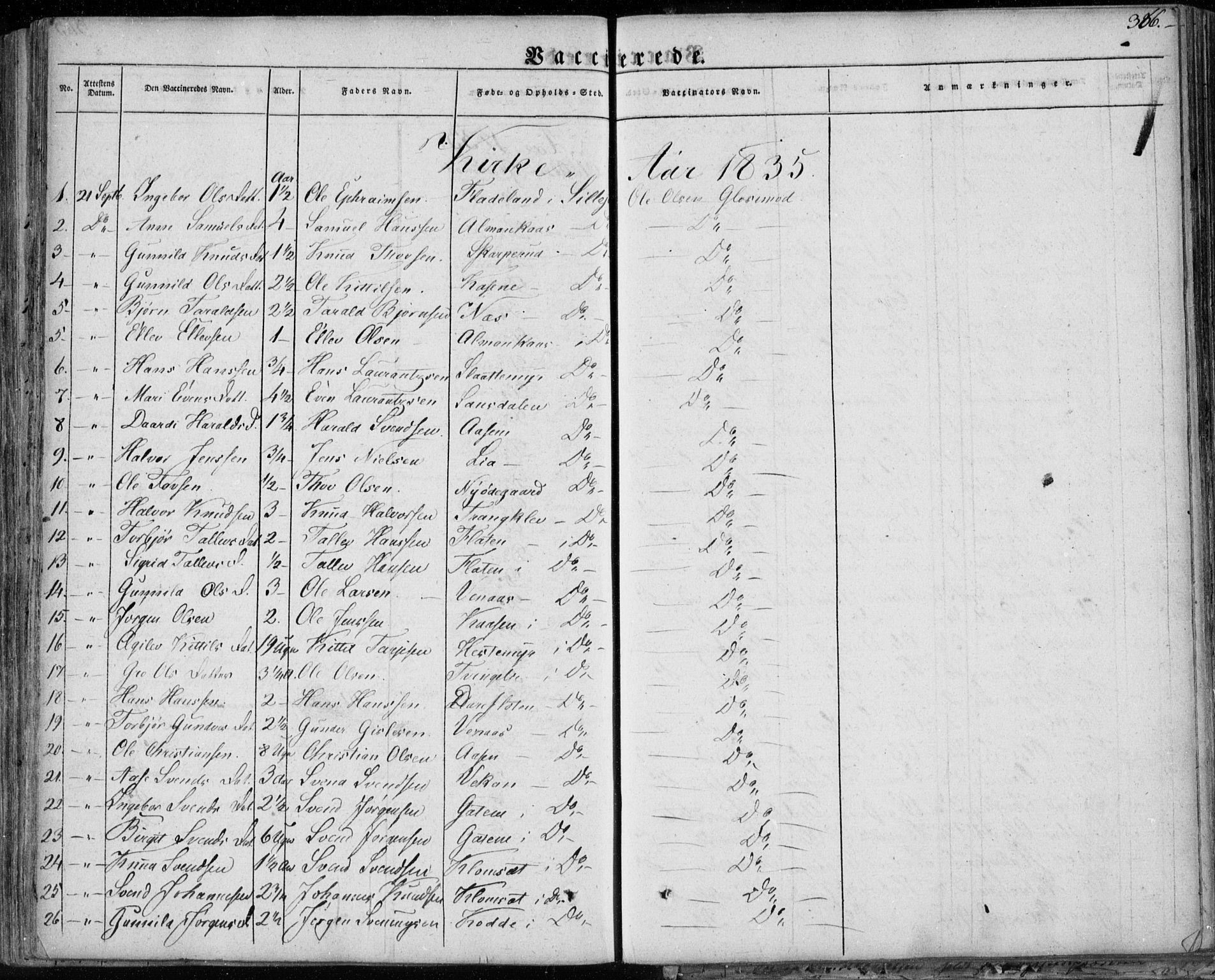 SAKO, Seljord kirkebøker, F/Fa/L0011: Ministerialbok nr. I 11, 1831-1849, s. 366
