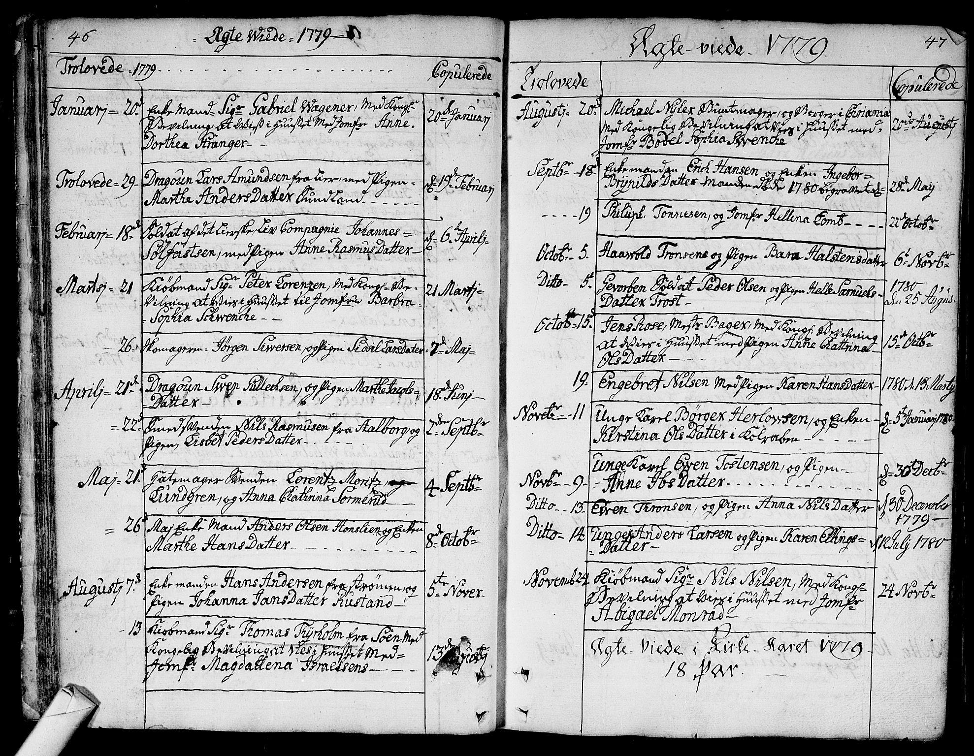 SAKO, Bragernes kirkebøker, F/Fa/L0005: Ministerialbok nr. I 5, 1759-1781, s. 46-47