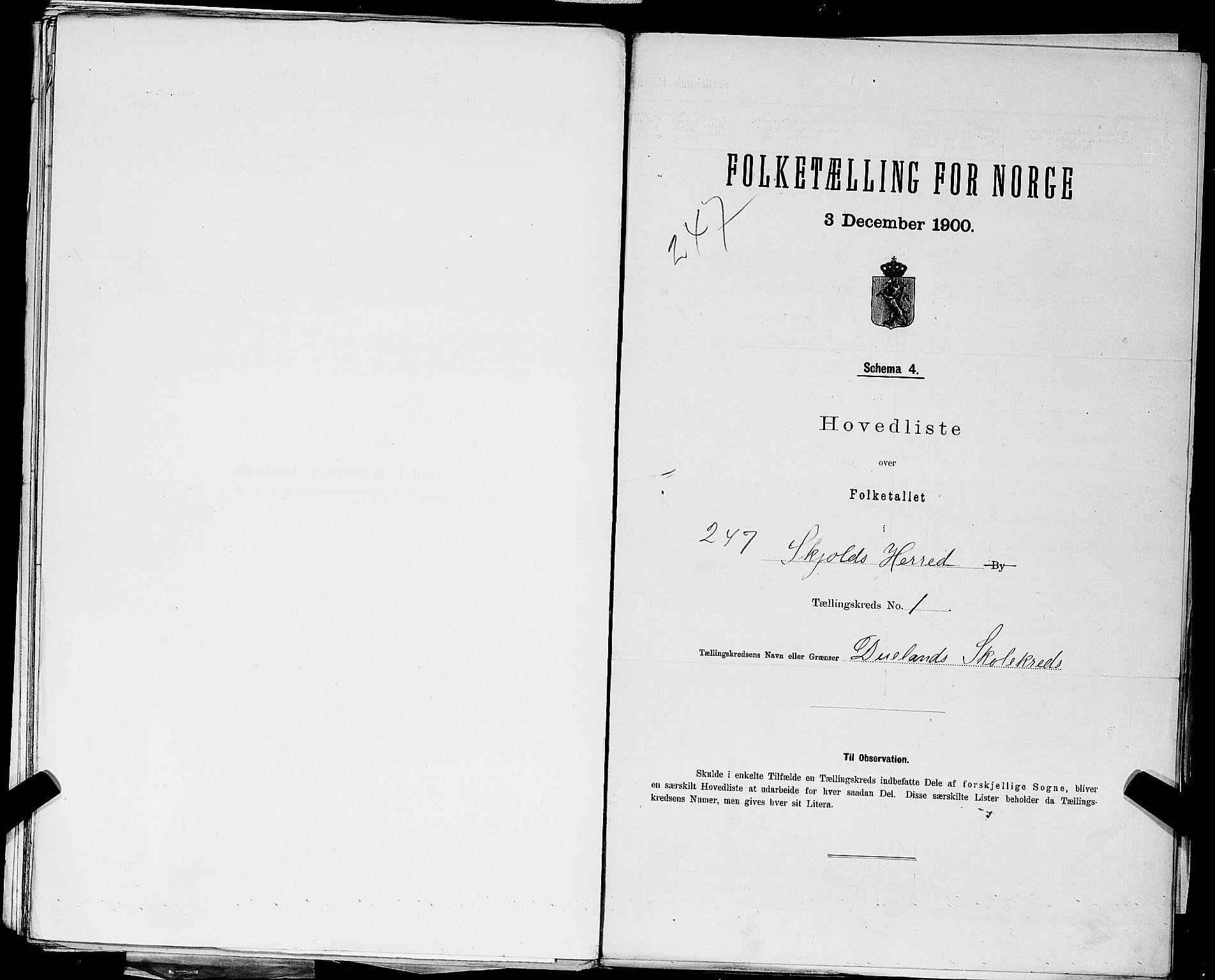 SAST, Folketelling 1900 for 1154 Skjold herred, 1900, s. 15