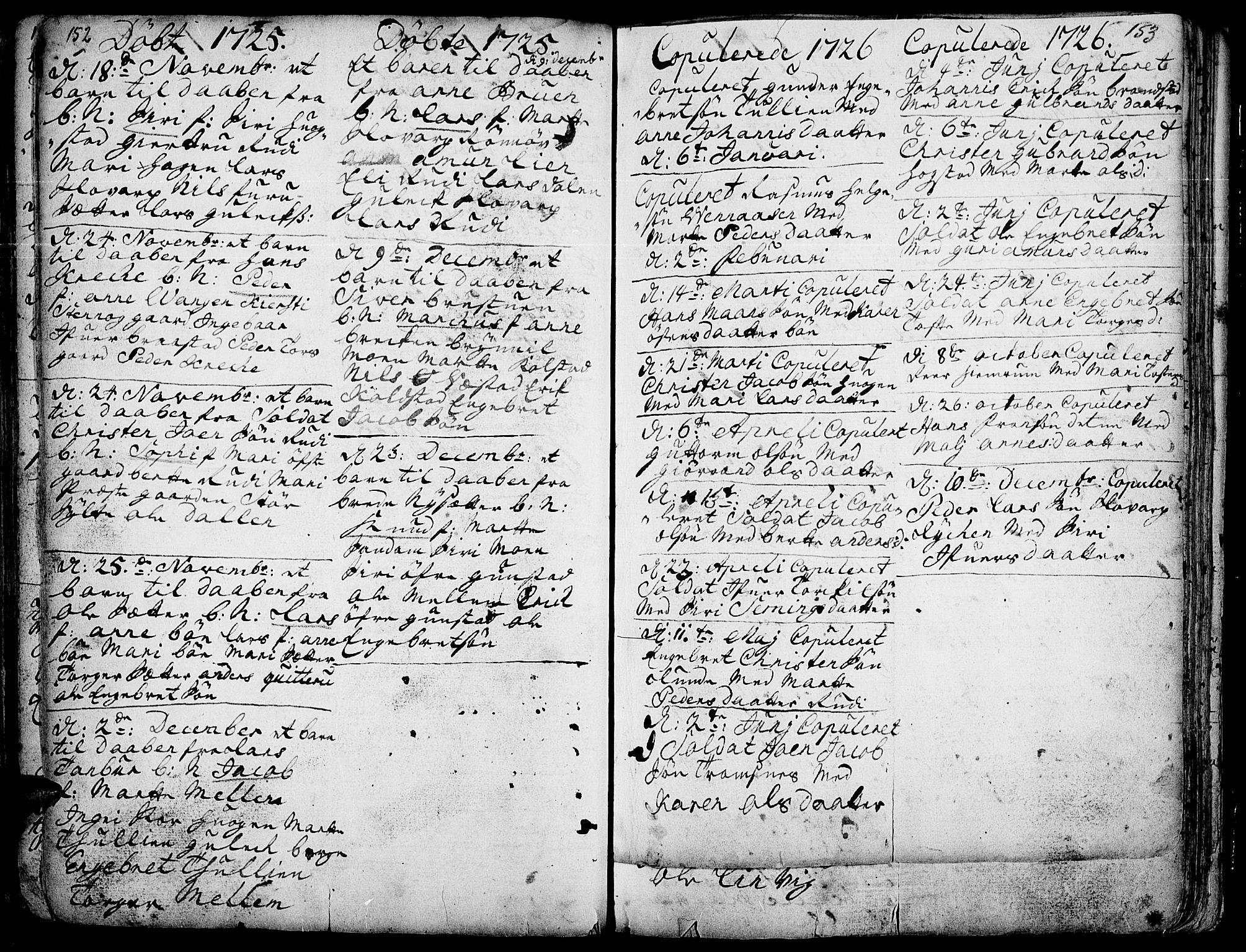 SAH, Ringebu prestekontor, Ministerialbok nr. 1, 1696-1733, s. 152-153