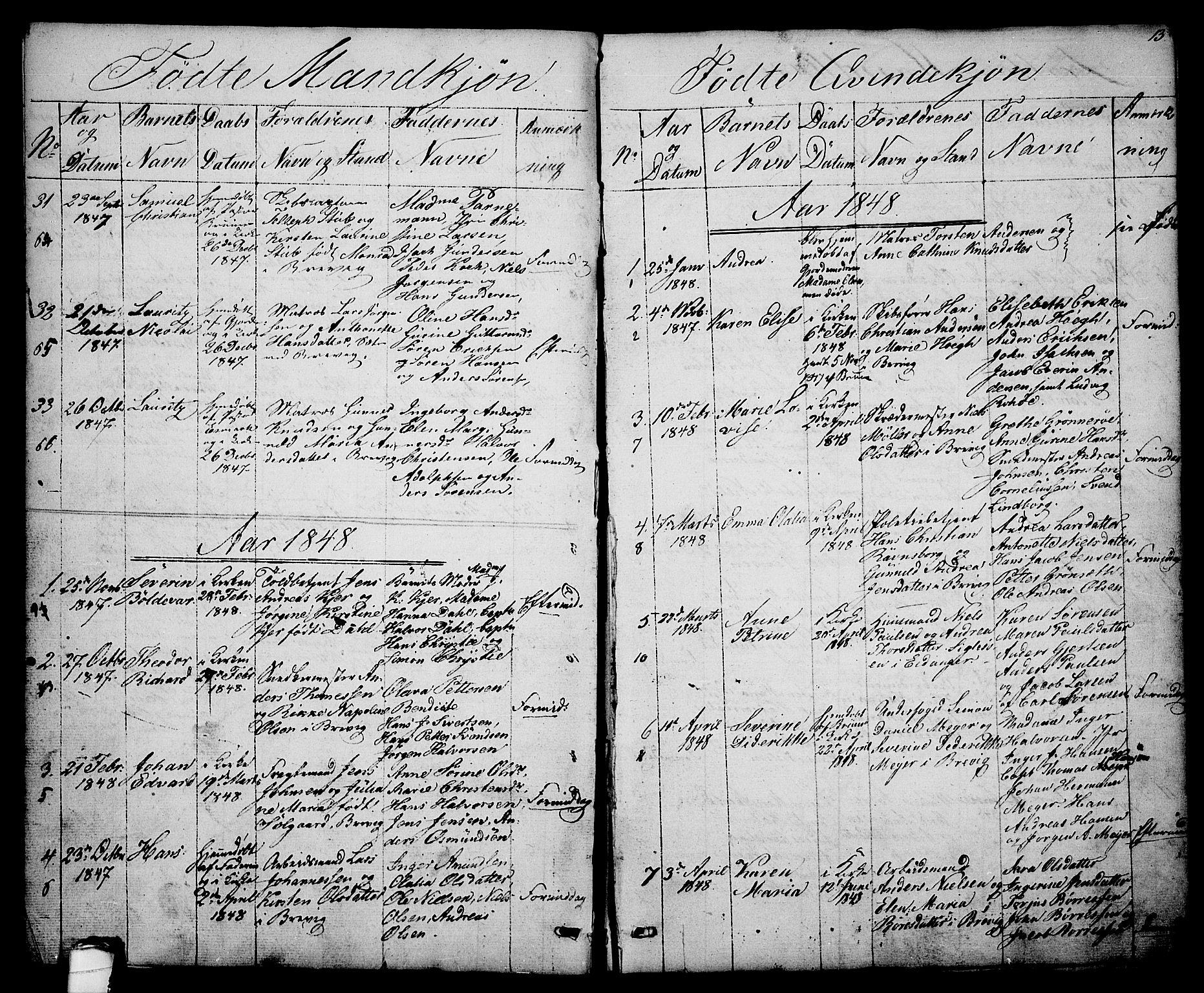SAKO, Brevik kirkebøker, G/Ga/L0002: Klokkerbok nr. 2, 1846-1865, s. 13