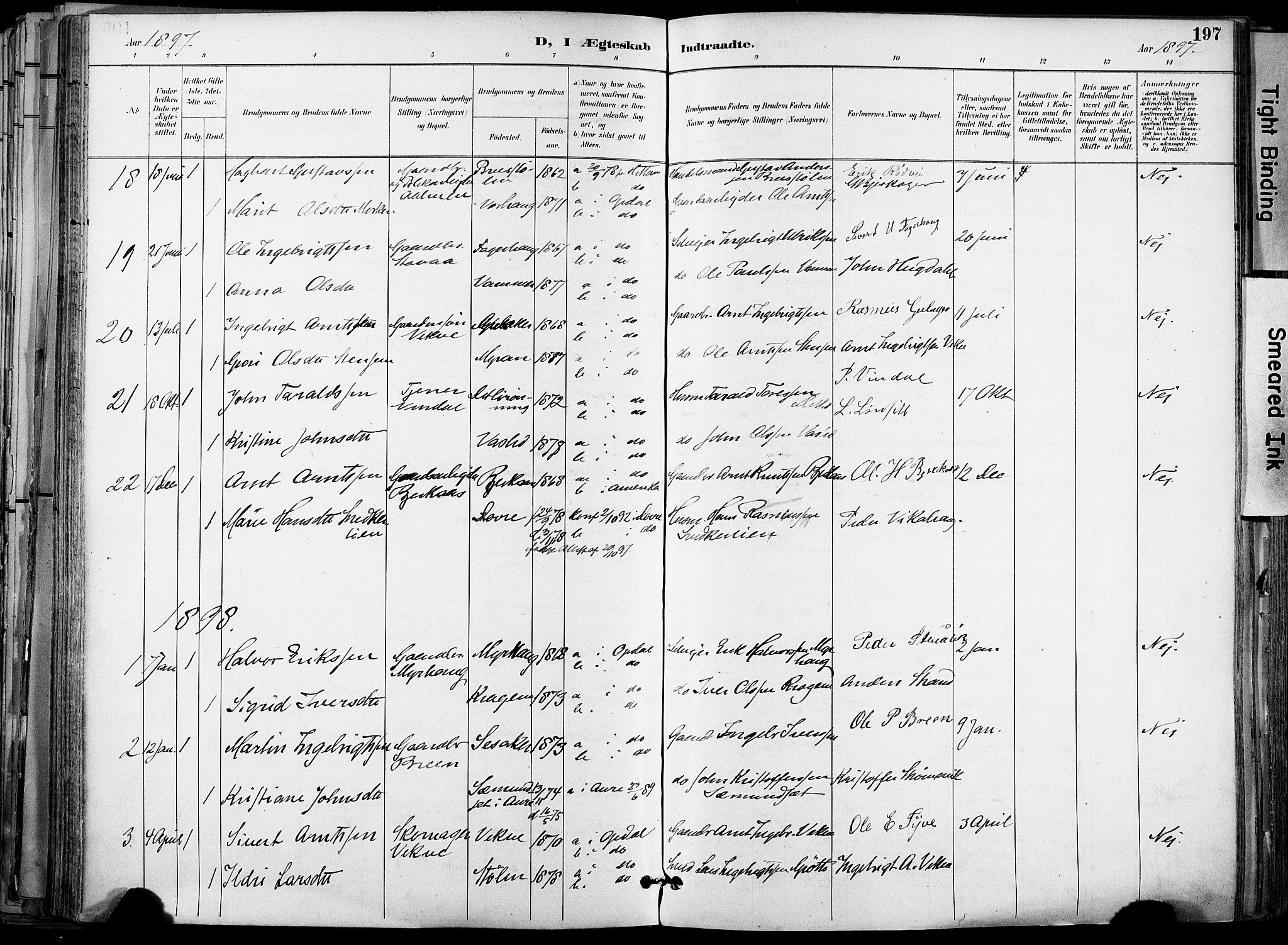SAT, Ministerialprotokoller, klokkerbøker og fødselsregistre - Sør-Trøndelag, 678/L0902: Ministerialbok nr. 678A11, 1895-1911, s. 197