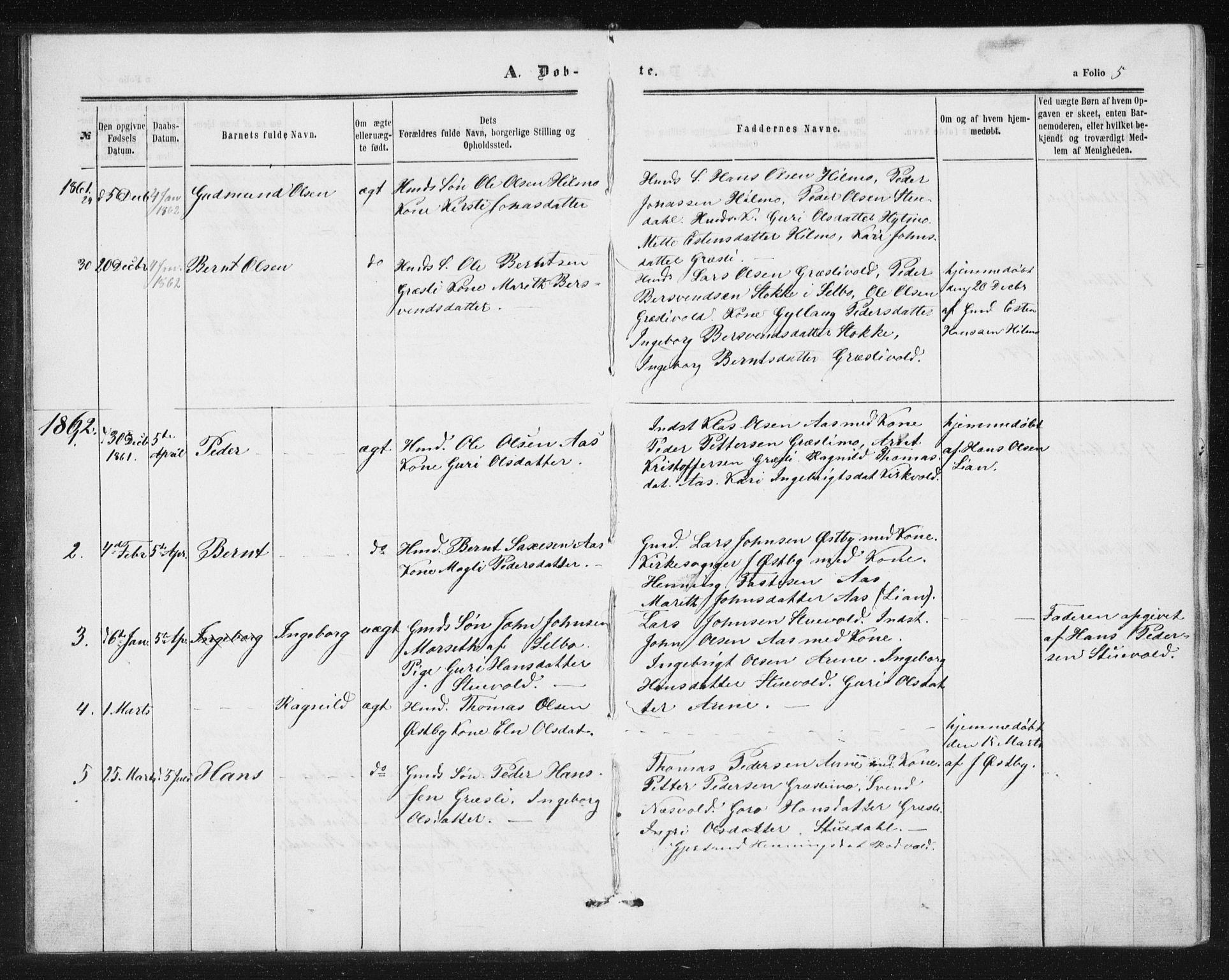 SAT, Ministerialprotokoller, klokkerbøker og fødselsregistre - Sør-Trøndelag, 698/L1166: Klokkerbok nr. 698C03, 1861-1887, s. 5