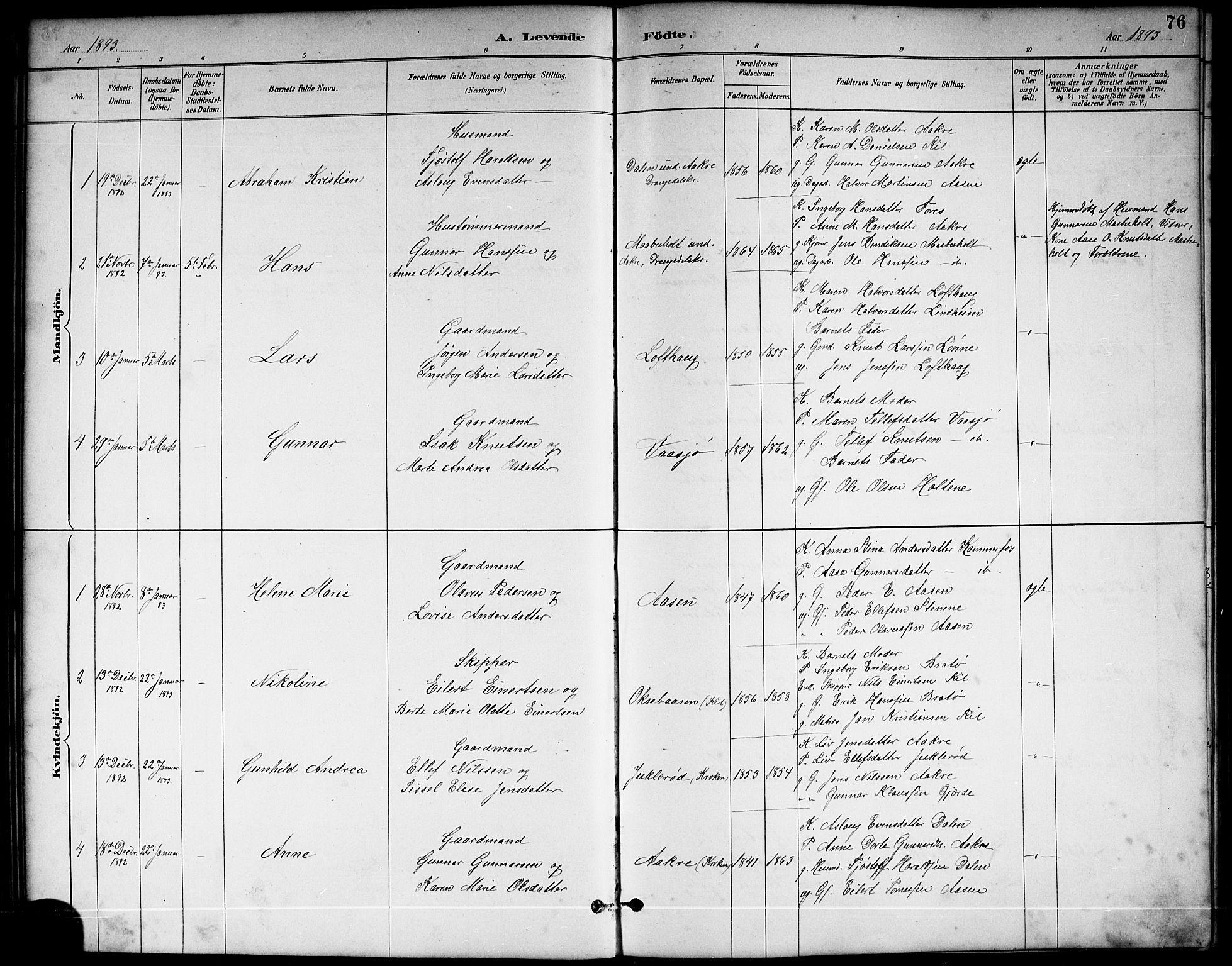 SAKO, Sannidal kirkebøker, G/Ga/L0003: Klokkerbok nr. 3, 1887-1922, s. 76