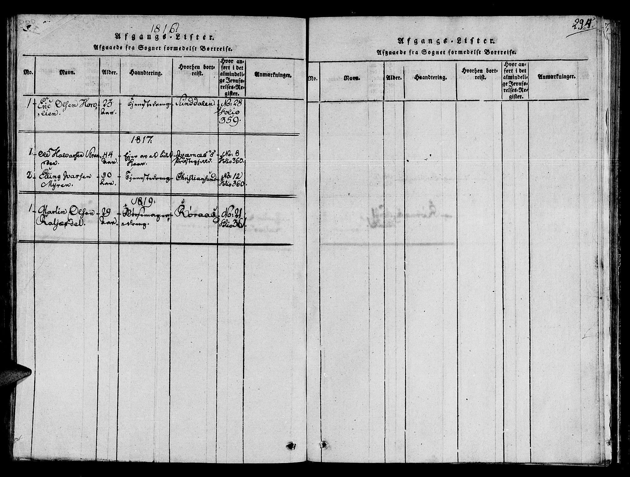 SAT, Ministerialprotokoller, klokkerbøker og fødselsregistre - Sør-Trøndelag, 678/L0896: Ministerialbok nr. 678A05 /2, 1816-1821, s. 294